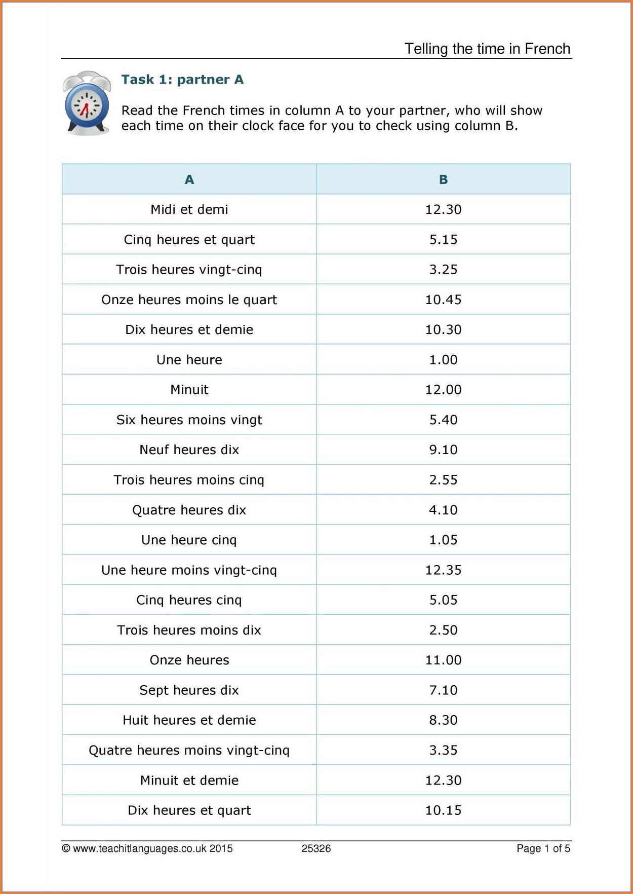 Telling Time In Spanish Worksheet Answer Key Worksheet