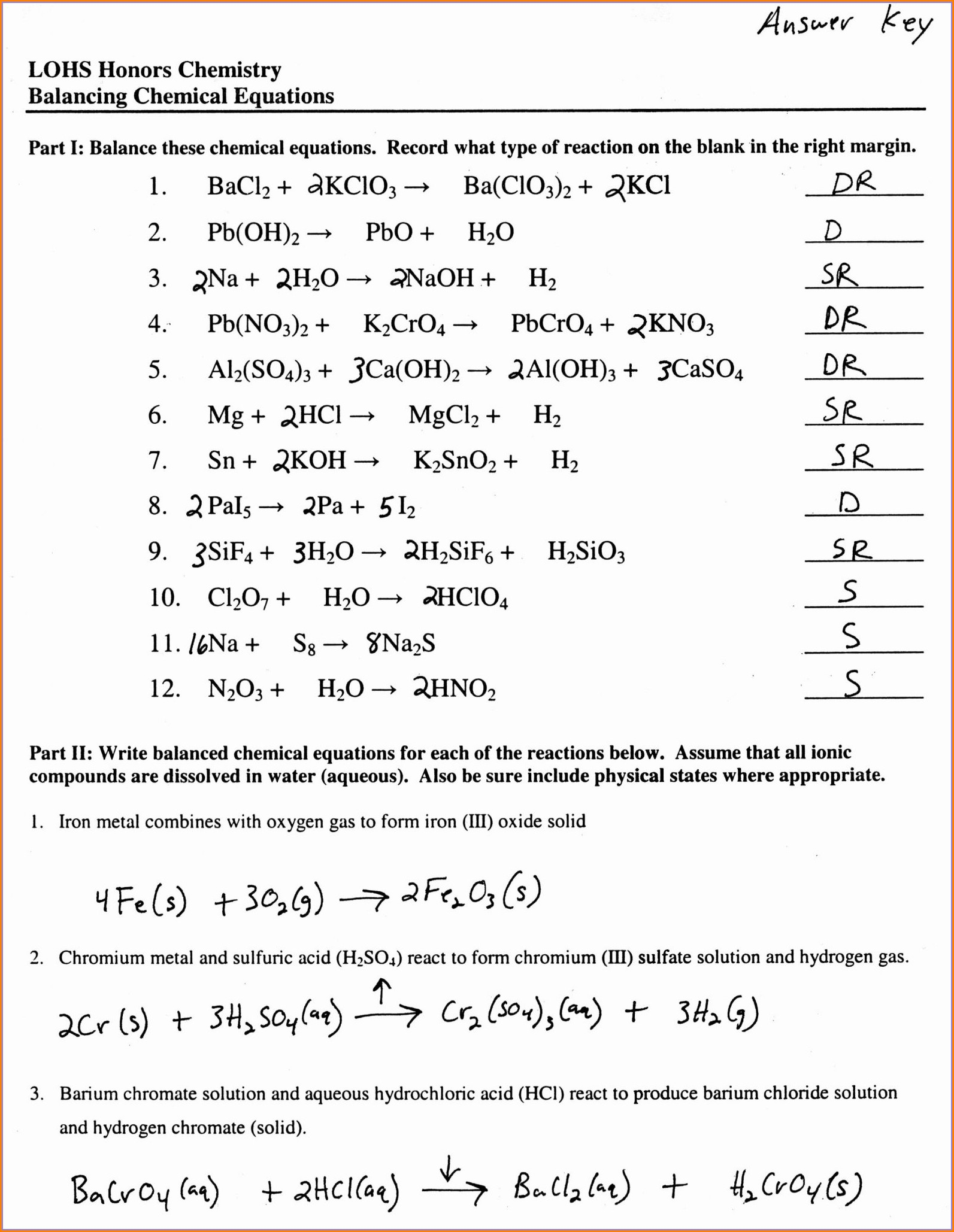 Word Equations Worksheet Chemistry If Answers