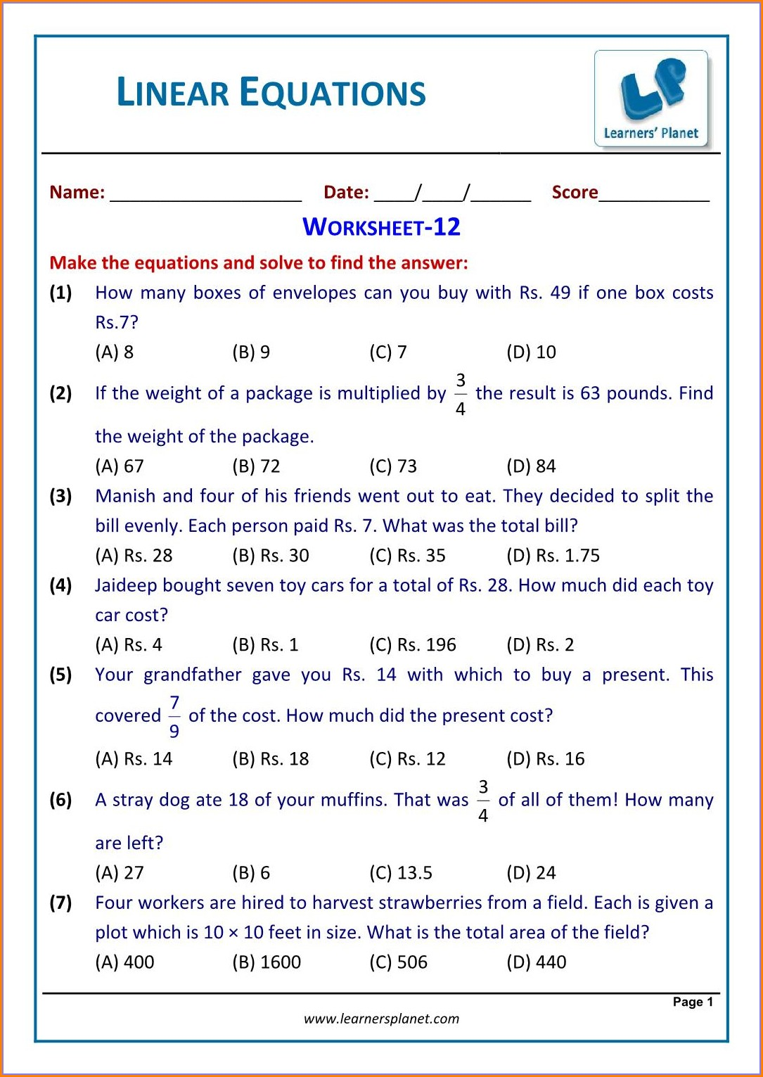 Simultaneous Equations Word Problems Worksheet With