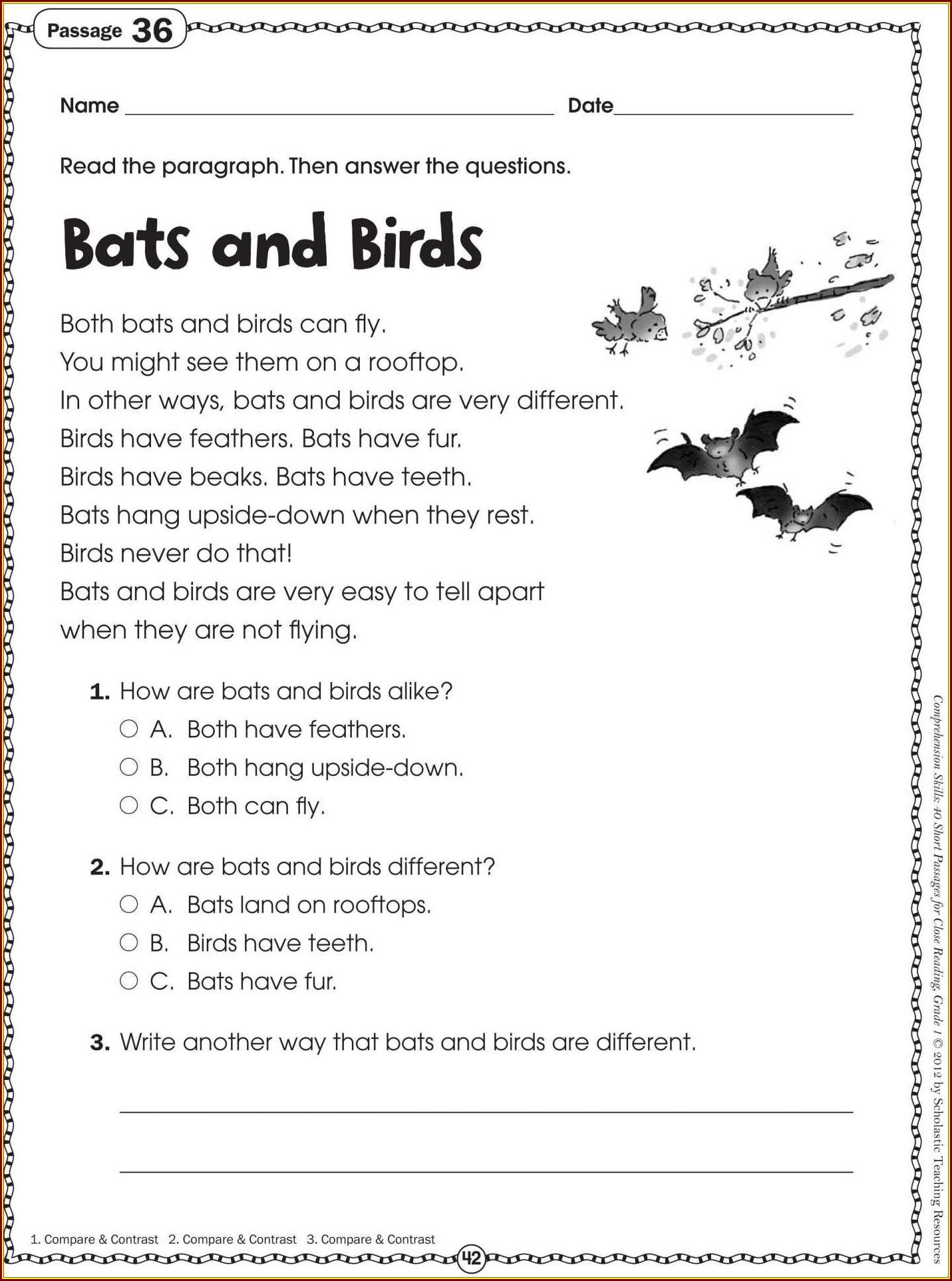Comprehension Grade 7 Worksheet Worksheet Resume