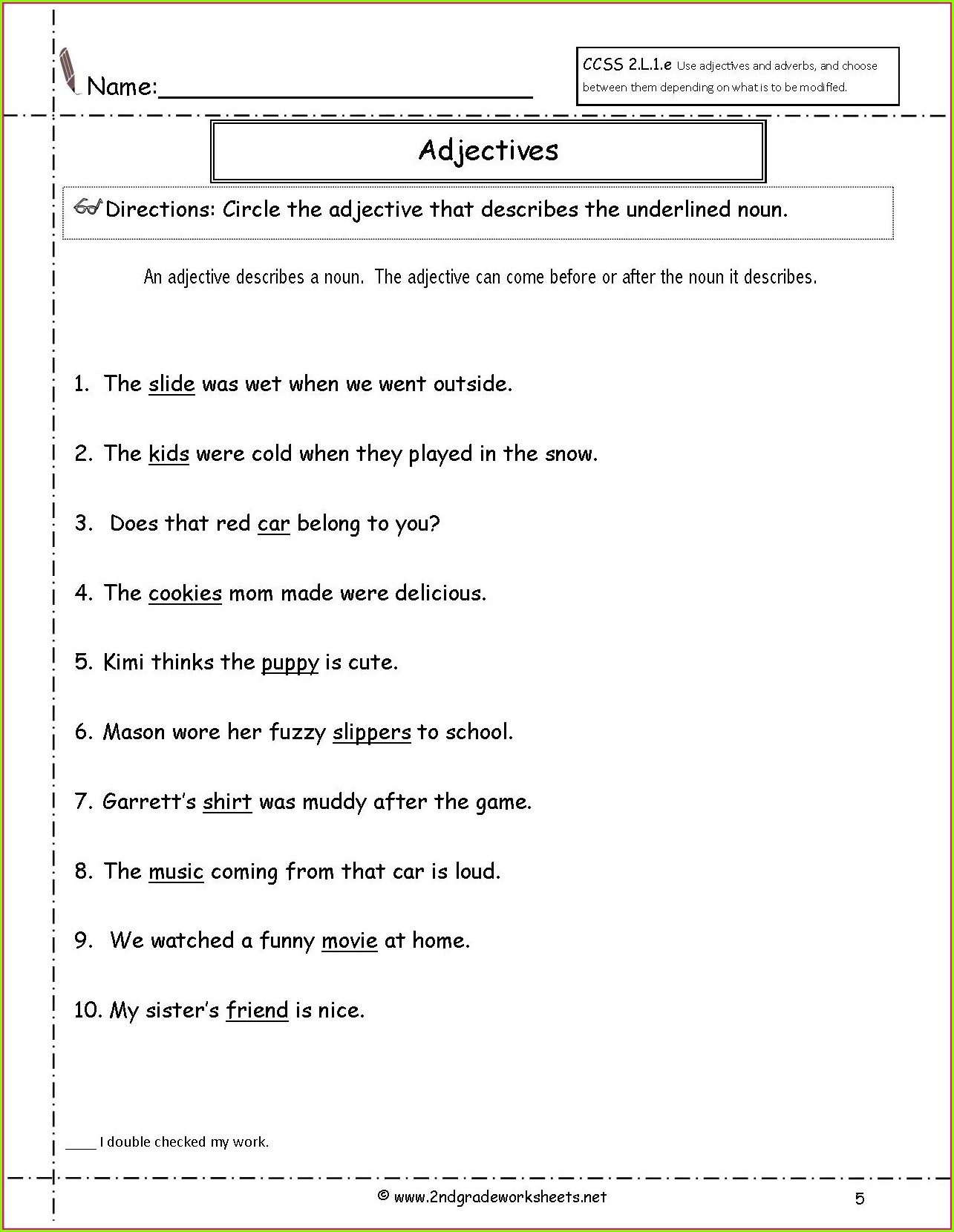 3rd Grade Adjectives And Adverbs Worksheet Worksheet