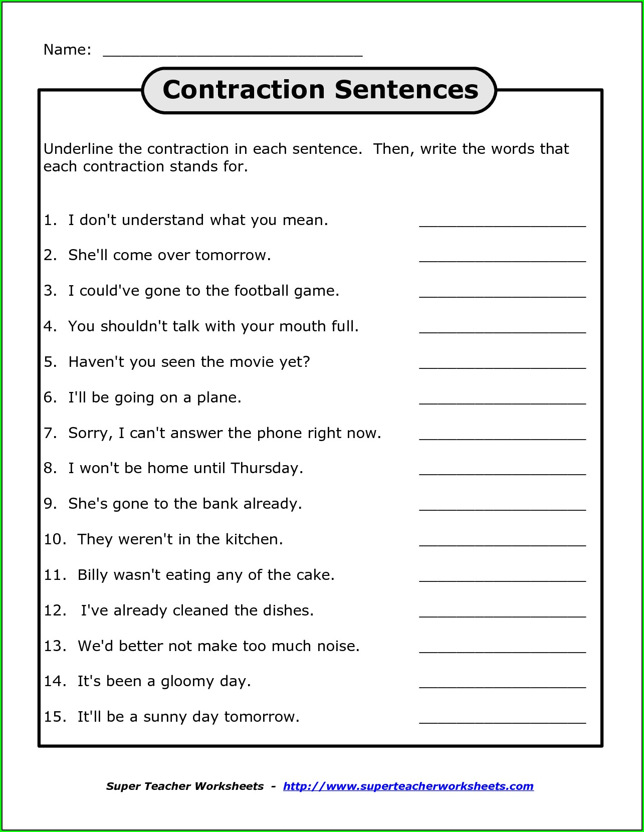hight resolution of Not Contraction Worksheet   Printable Worksheets and Activities for  Teachers