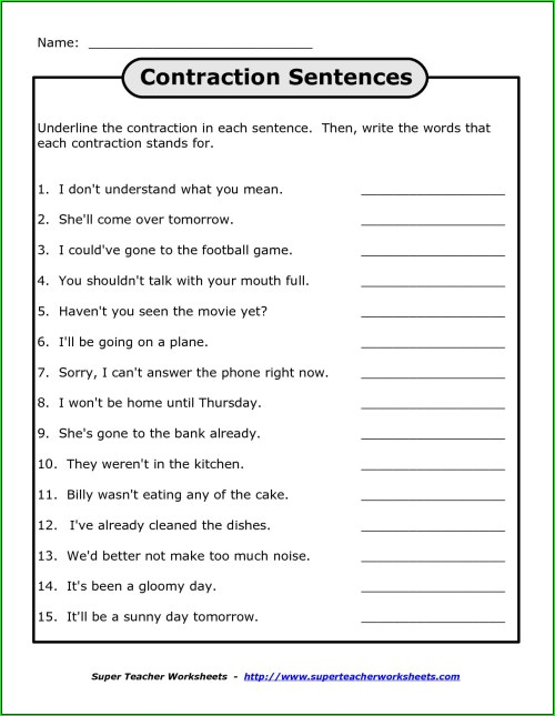 small resolution of Not Contraction Worksheet   Printable Worksheets and Activities for  Teachers