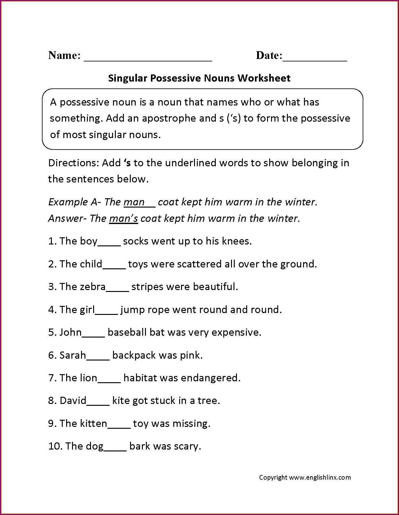 2nd Grade Plural Possessive Nouns Worksheets Worksheet