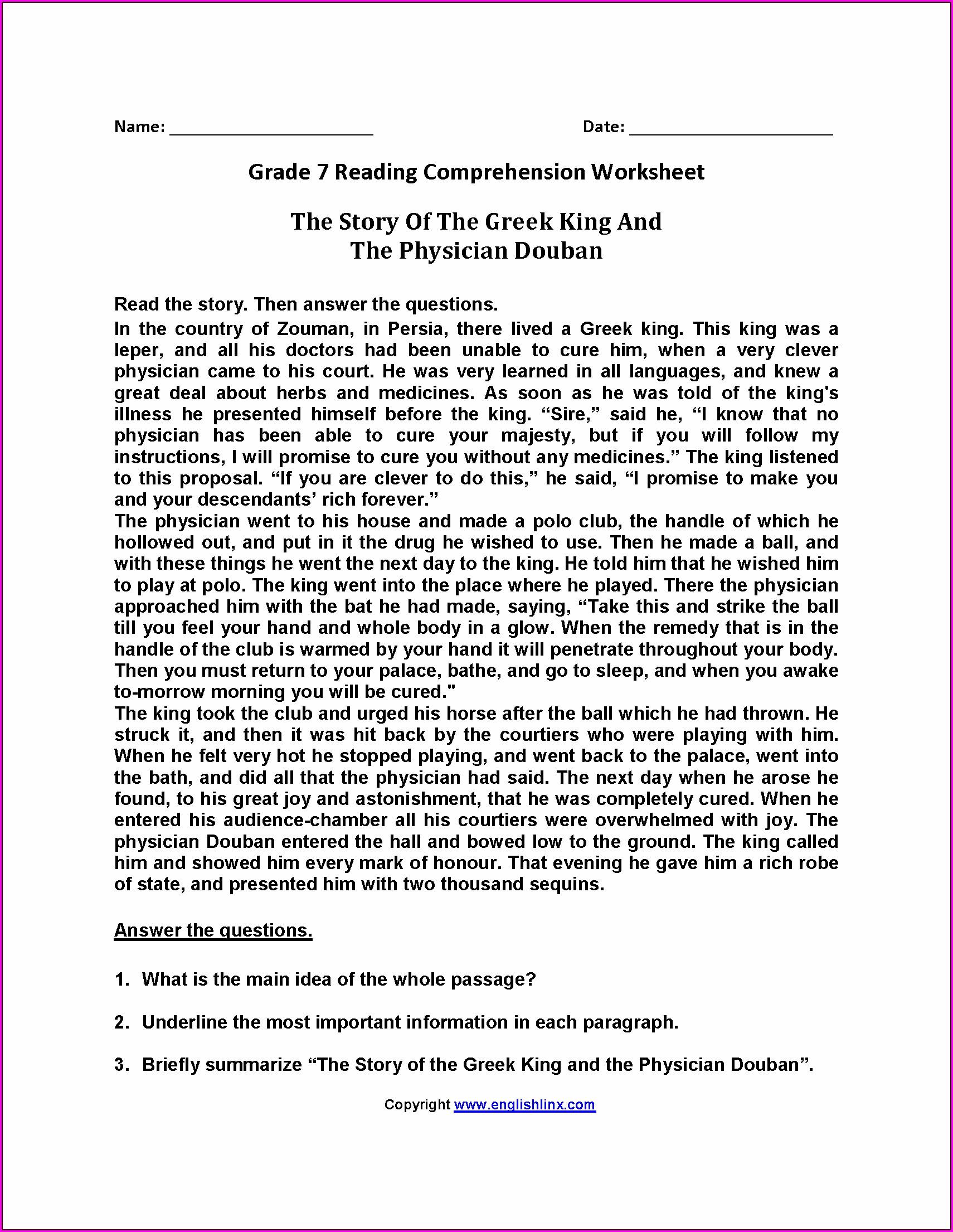 Grade 5 Reading Comprehension Worksheets Worksheet
