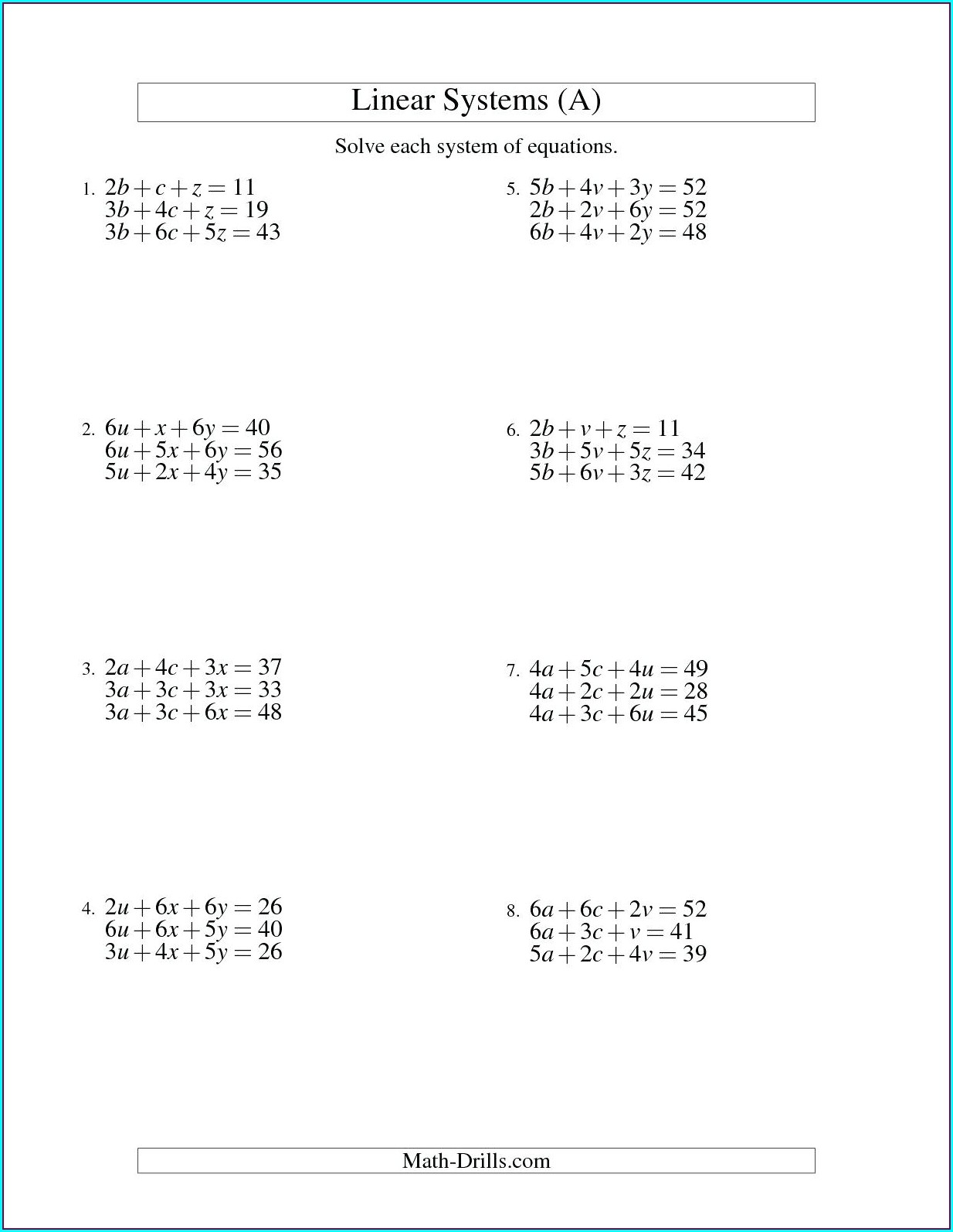 8th Grade Systems Of Equations Worksheet Worksheet