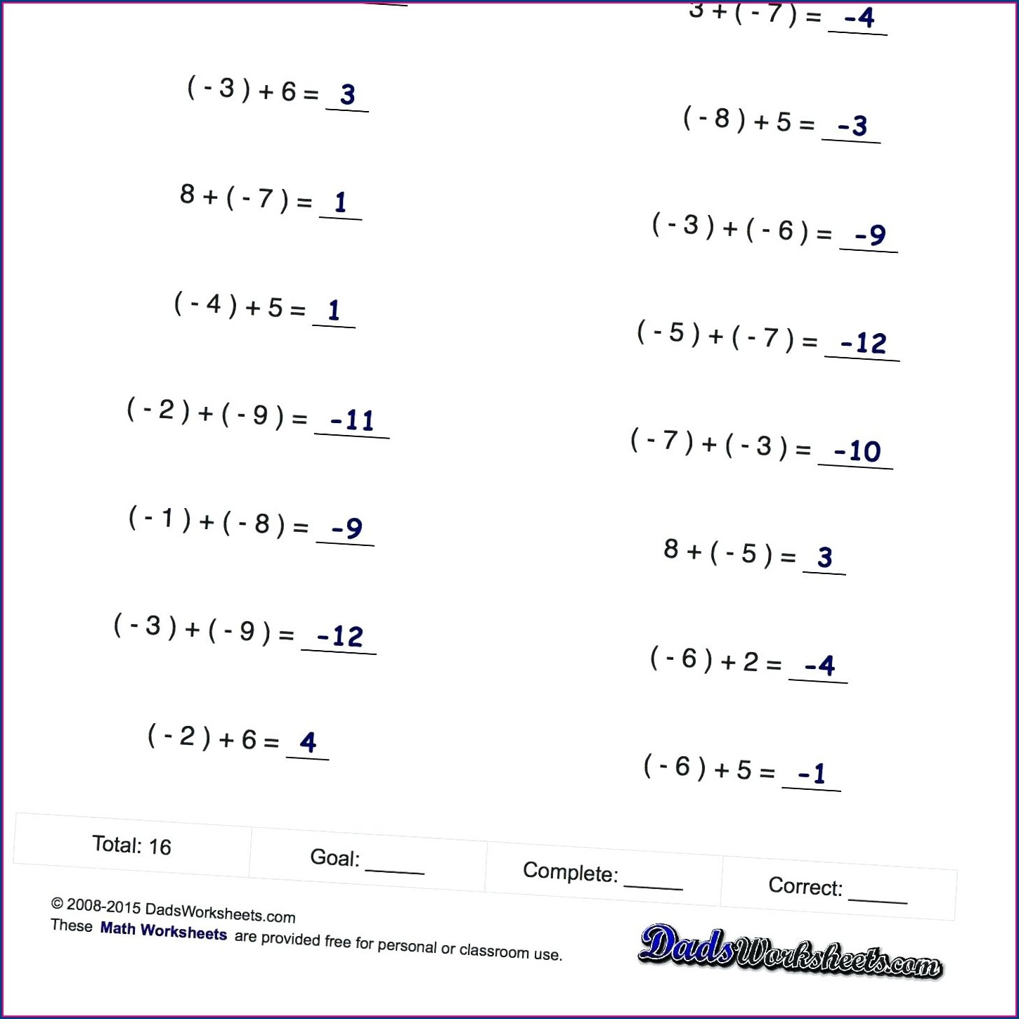 Adding And Subtracting Negative Numbers Worksheets Free