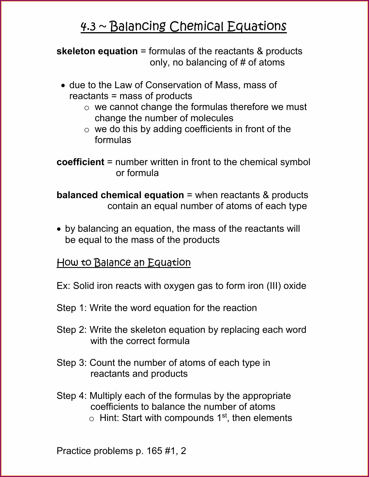 Answer Key Writing Chemical Equations Worksheet Worksheet