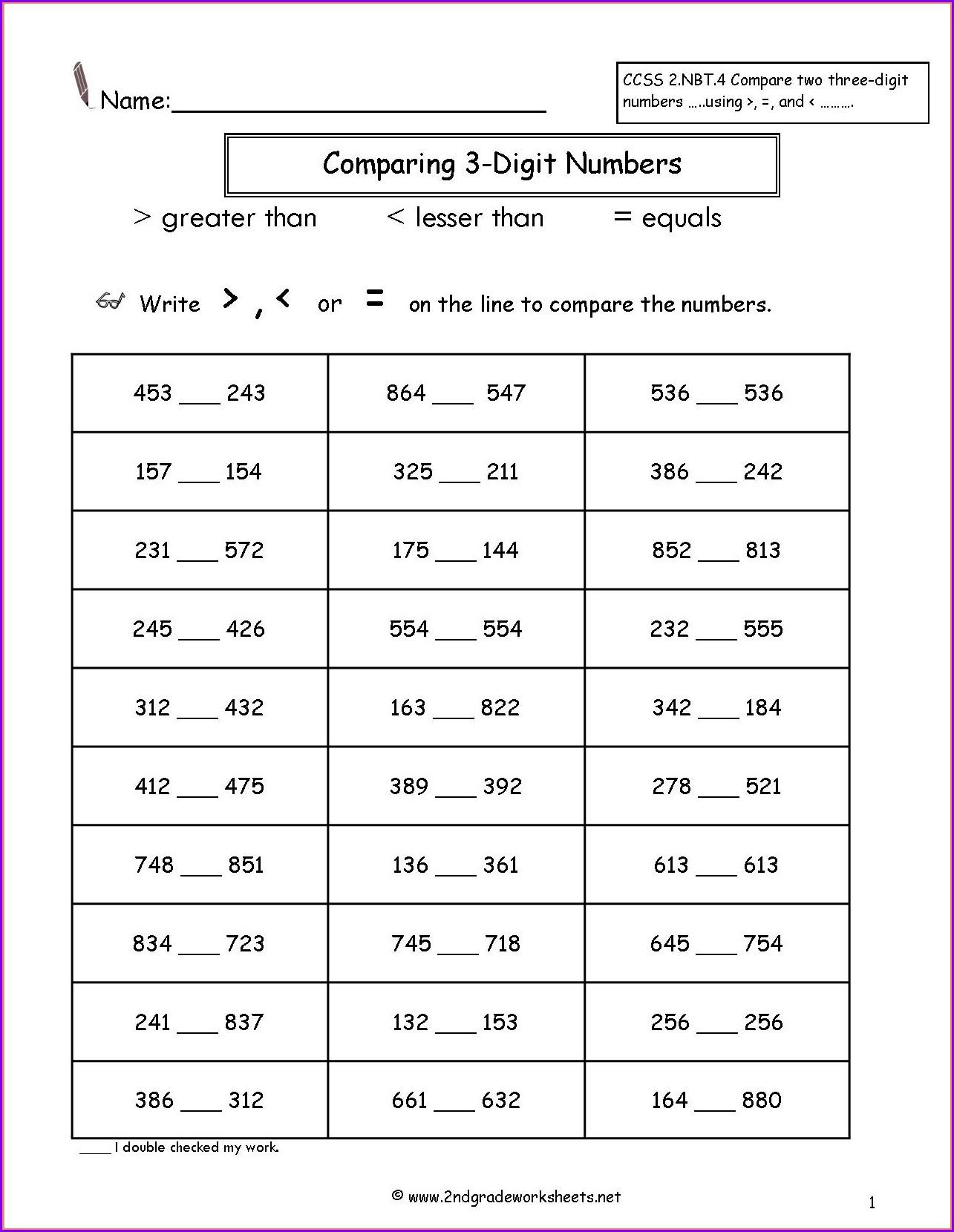 Comparing Numbers 1 10 Worksheets Kindergarten Worksheet