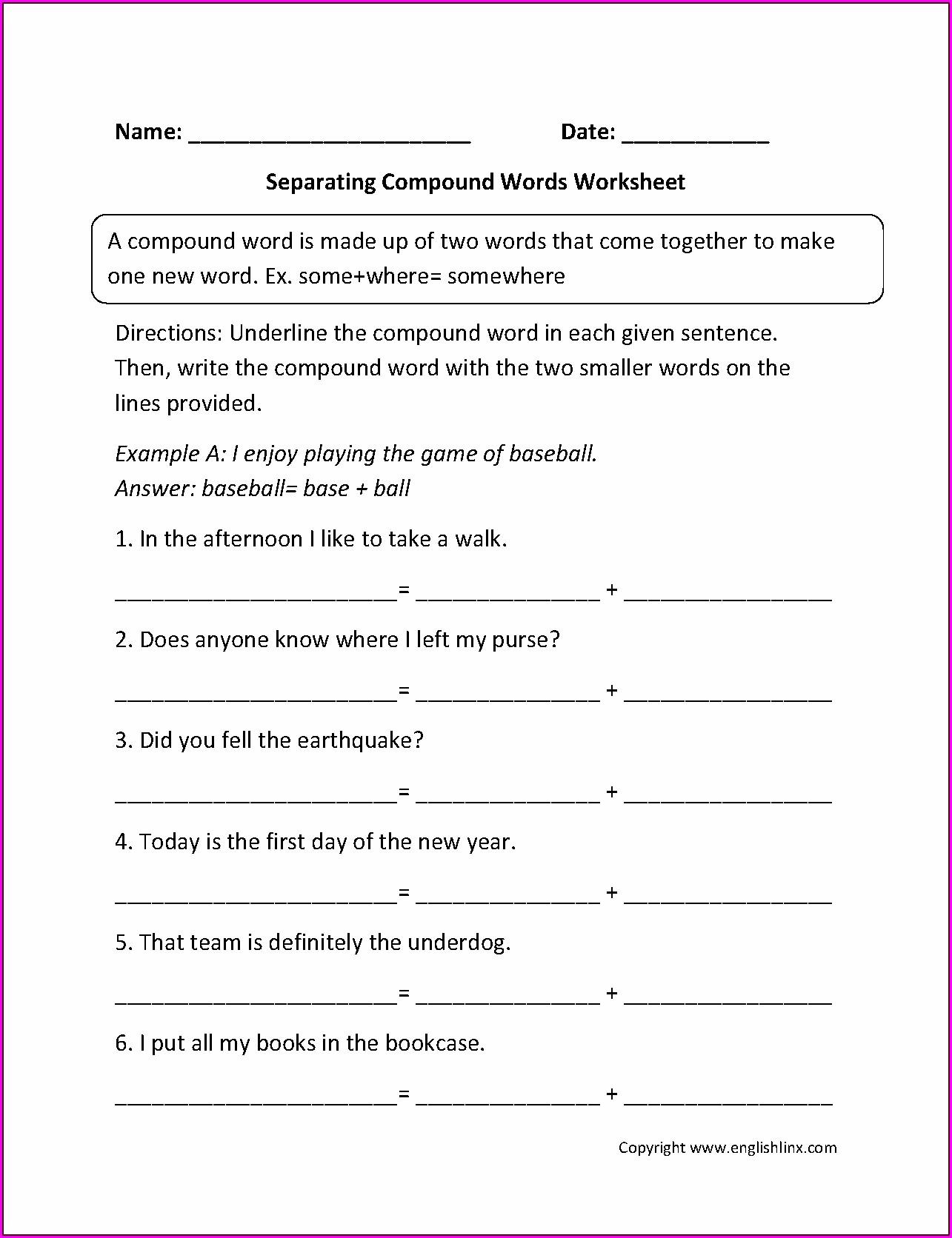 Grade 9 7th Grade Compound Words Worksheet Worksheet