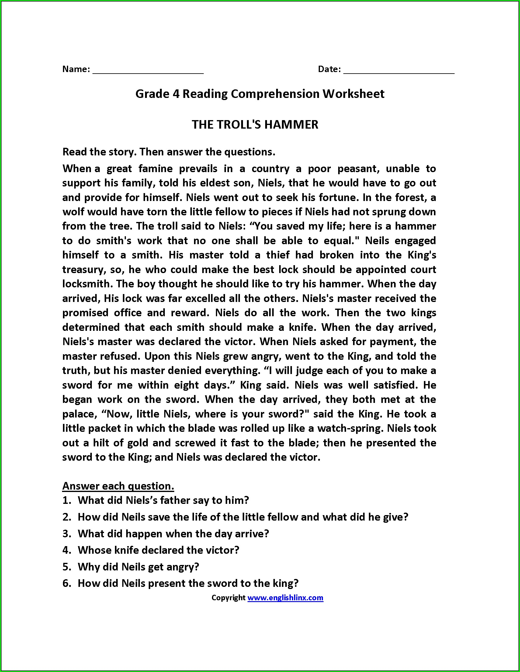 Comprehension Passage In Hindi For Grade 6 Worksheet