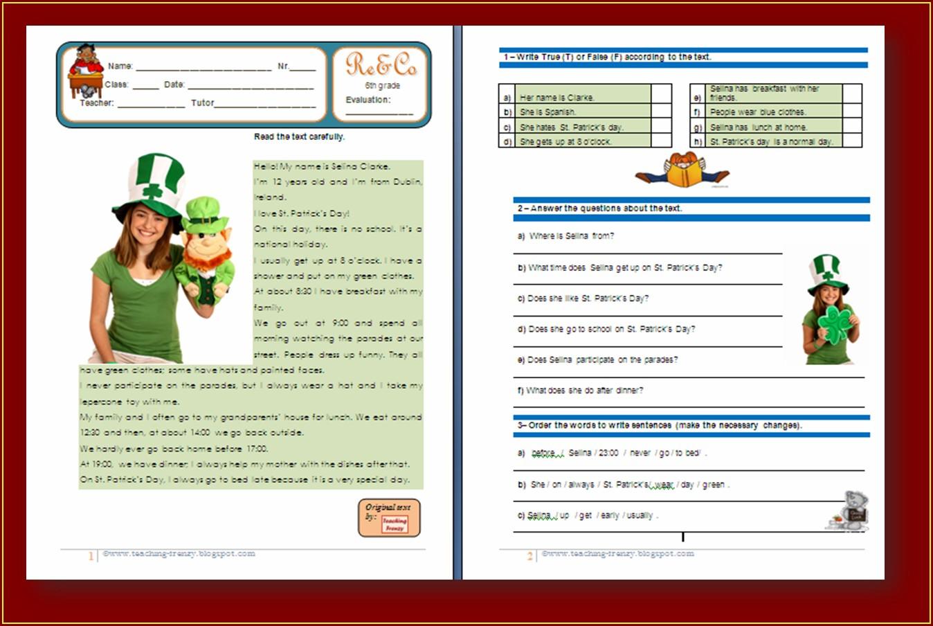 Comprehension Worksheet For Year 6 Uncategorized Resume