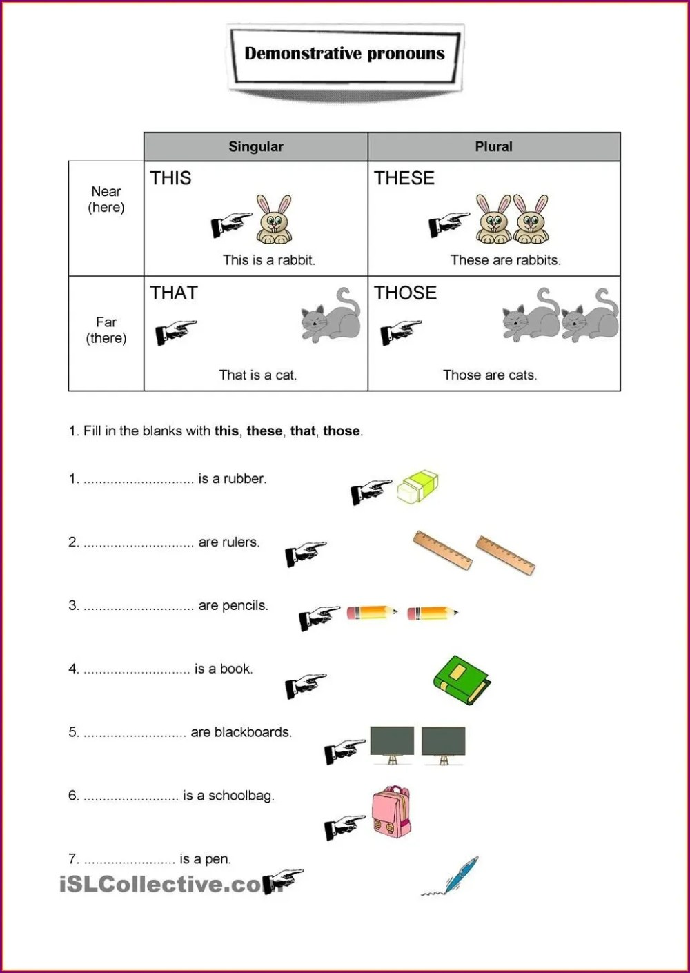 medium resolution of Worksheets Demostrative Pronouns   Printable Worksheets and Activities for  Teachers