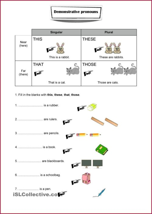 small resolution of Worksheets Demostrative Pronouns   Printable Worksheets and Activities for  Teachers