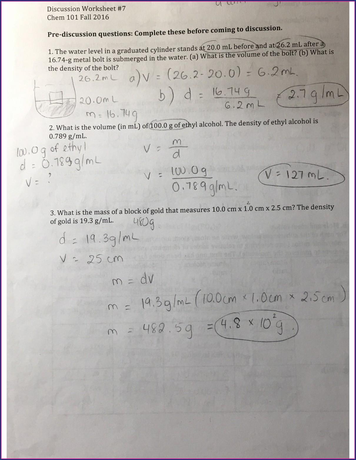 Density Worksheet Chemistry 101 Worksheet Resume Examples