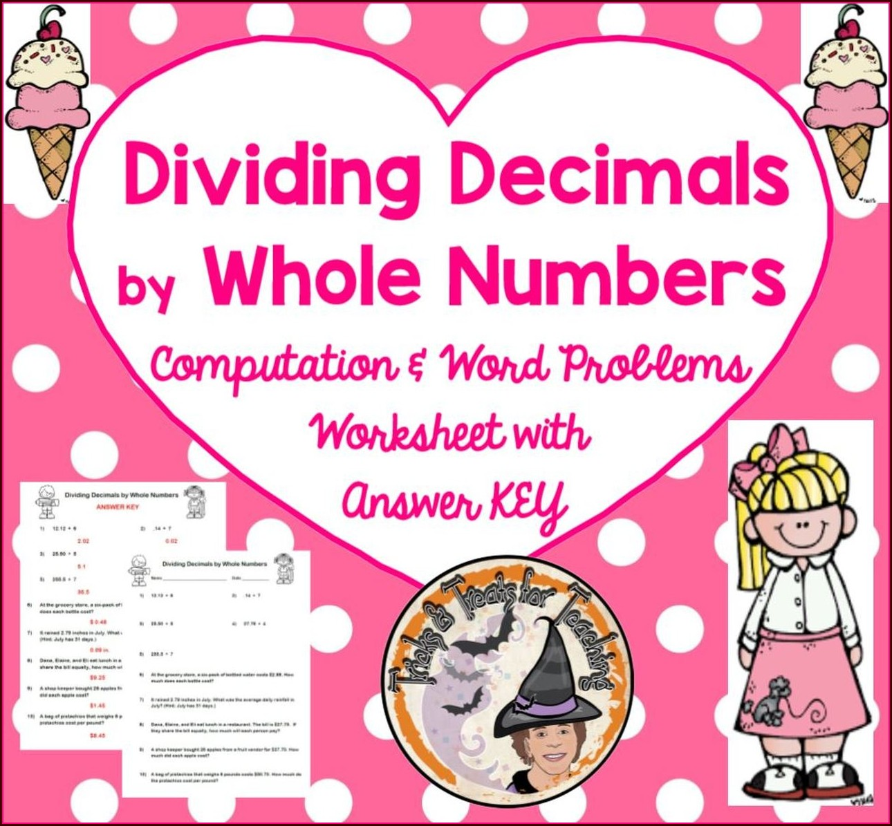 Dividing Decimals By Whole Numbers Worksheet With Answers