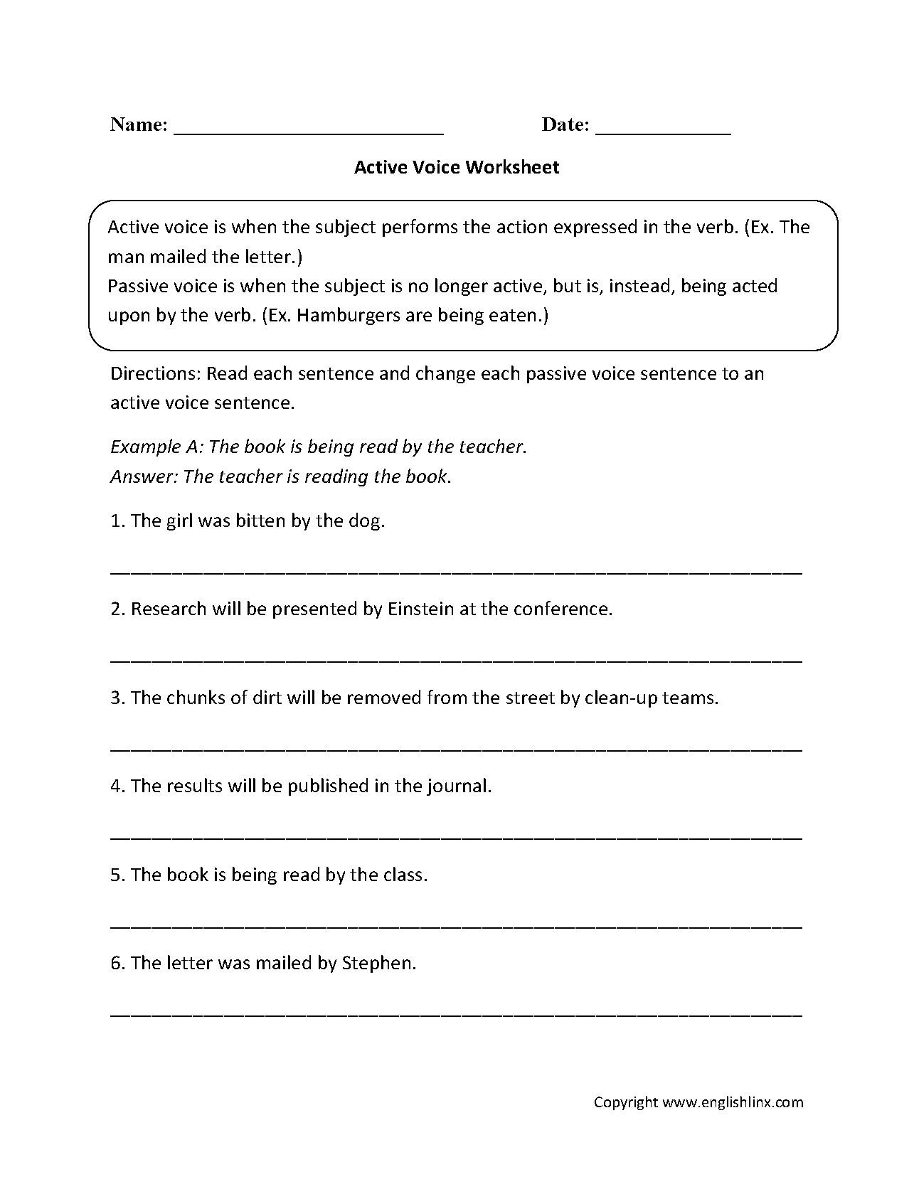 English Worksheets Active Passive Voice Worksheet Resume