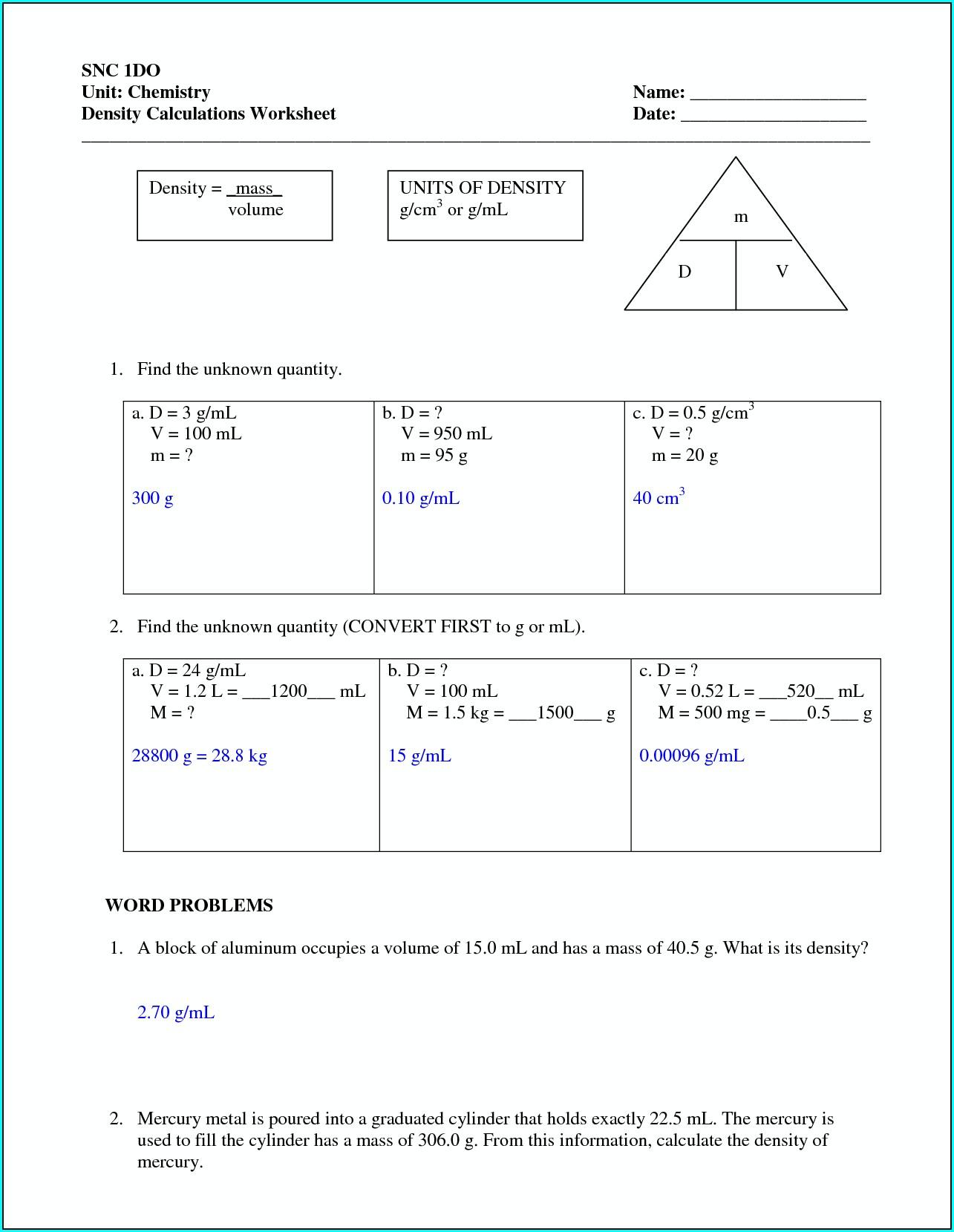 Density Worksheet 1 Answer Key Worksheet Resume Examples