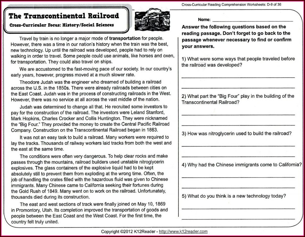 Science Reading Comprehension Worksheets High School