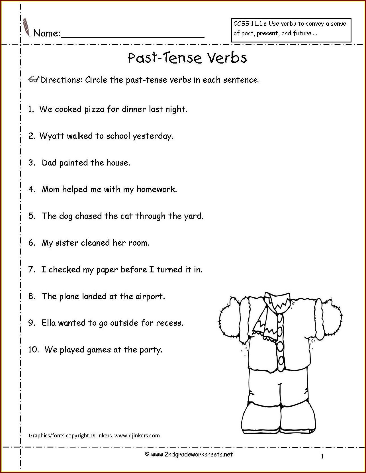 Irregular Verbs Worksheet For Second Grade Worksheet