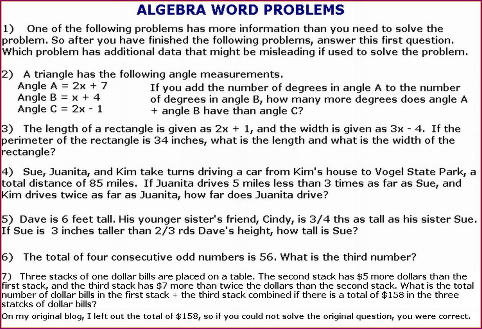 Free Math Word Problems Worksheets High School Worksheet