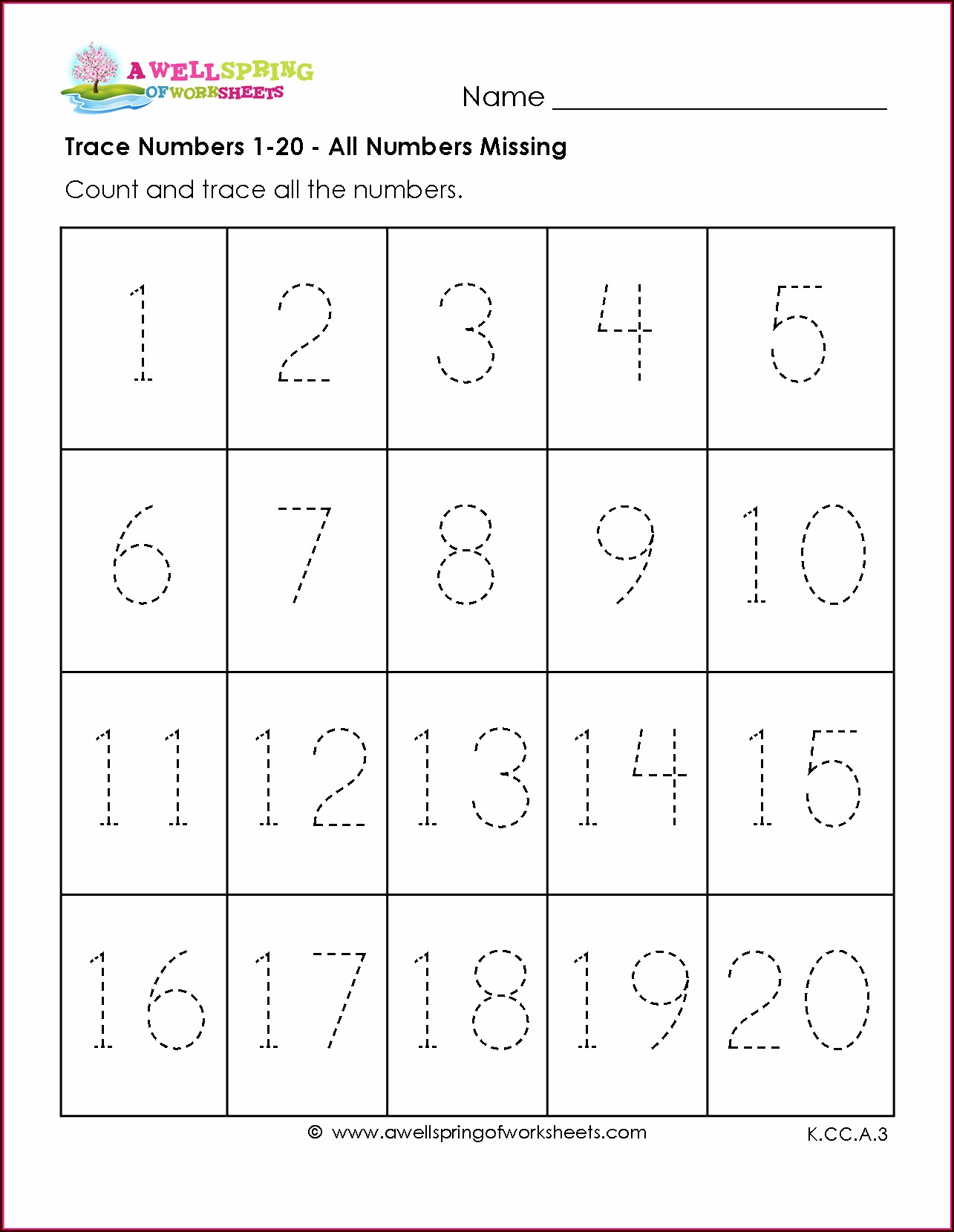 Number Tracing Worksheets 1 50 Free