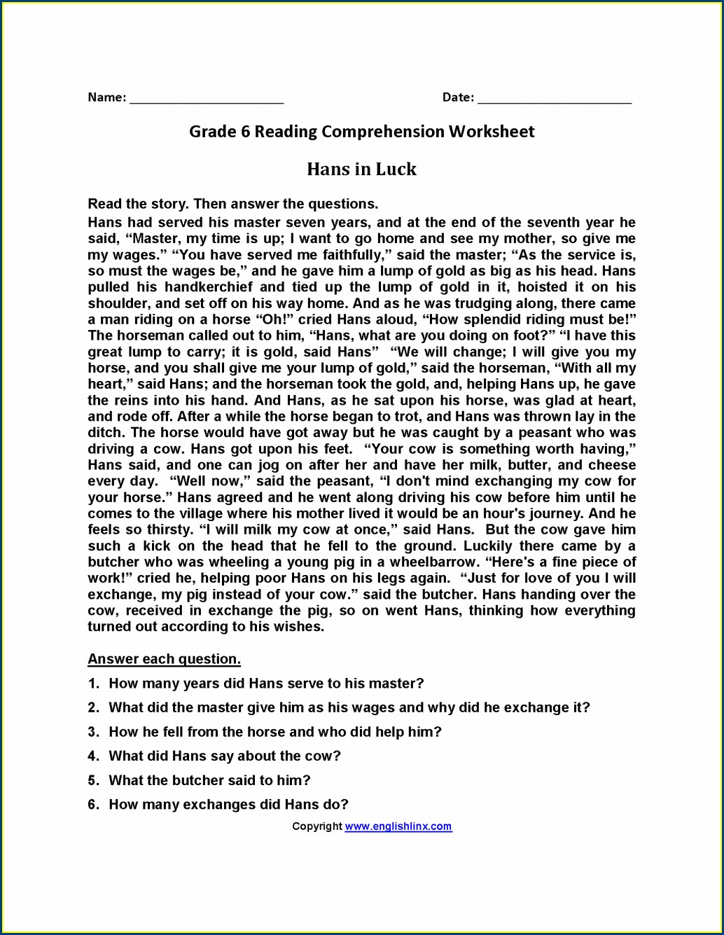 Reading Comprehension Exercises With Answers Worksheet