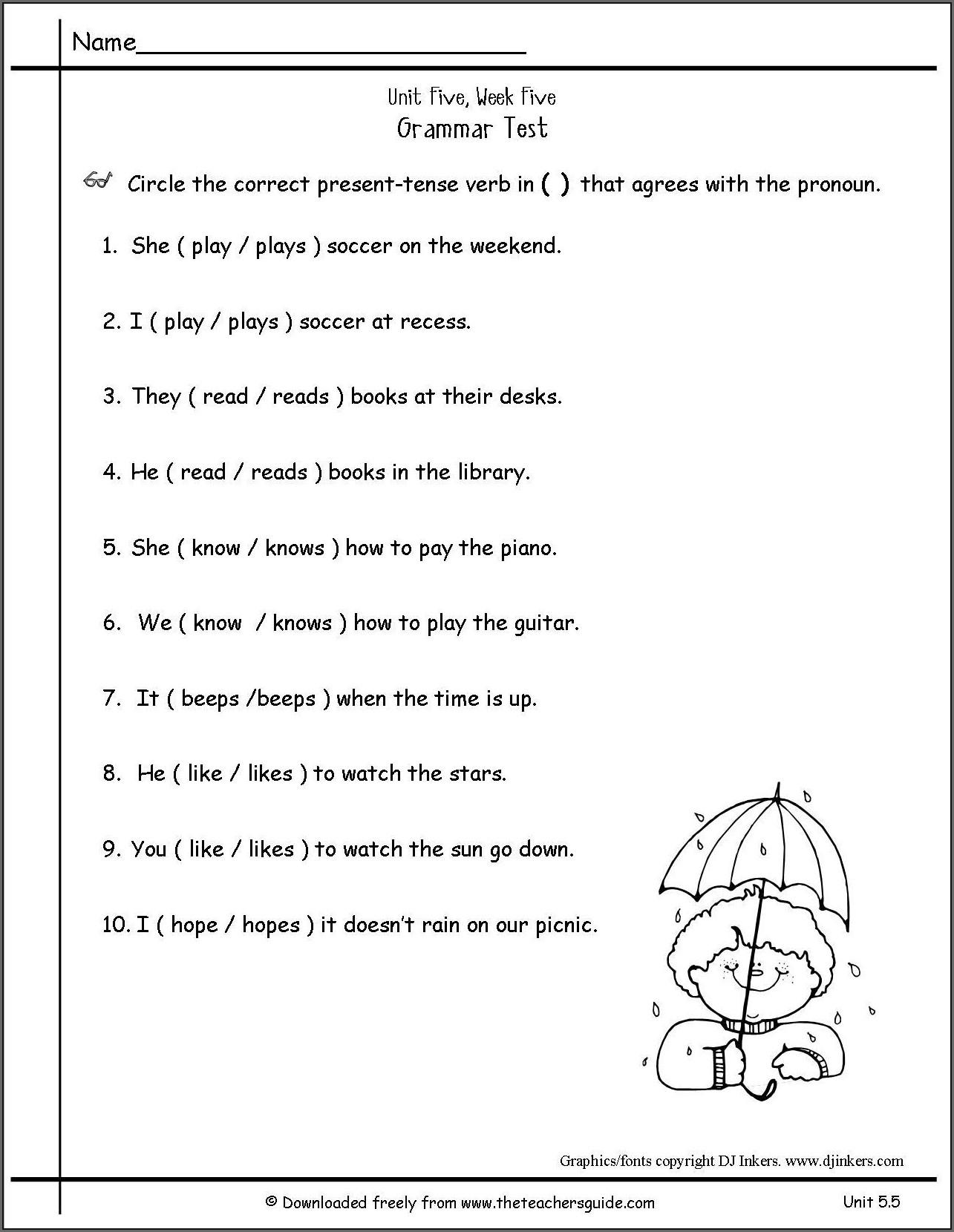 Simple Present Tense Worksheet For Grade 5 Worksheet