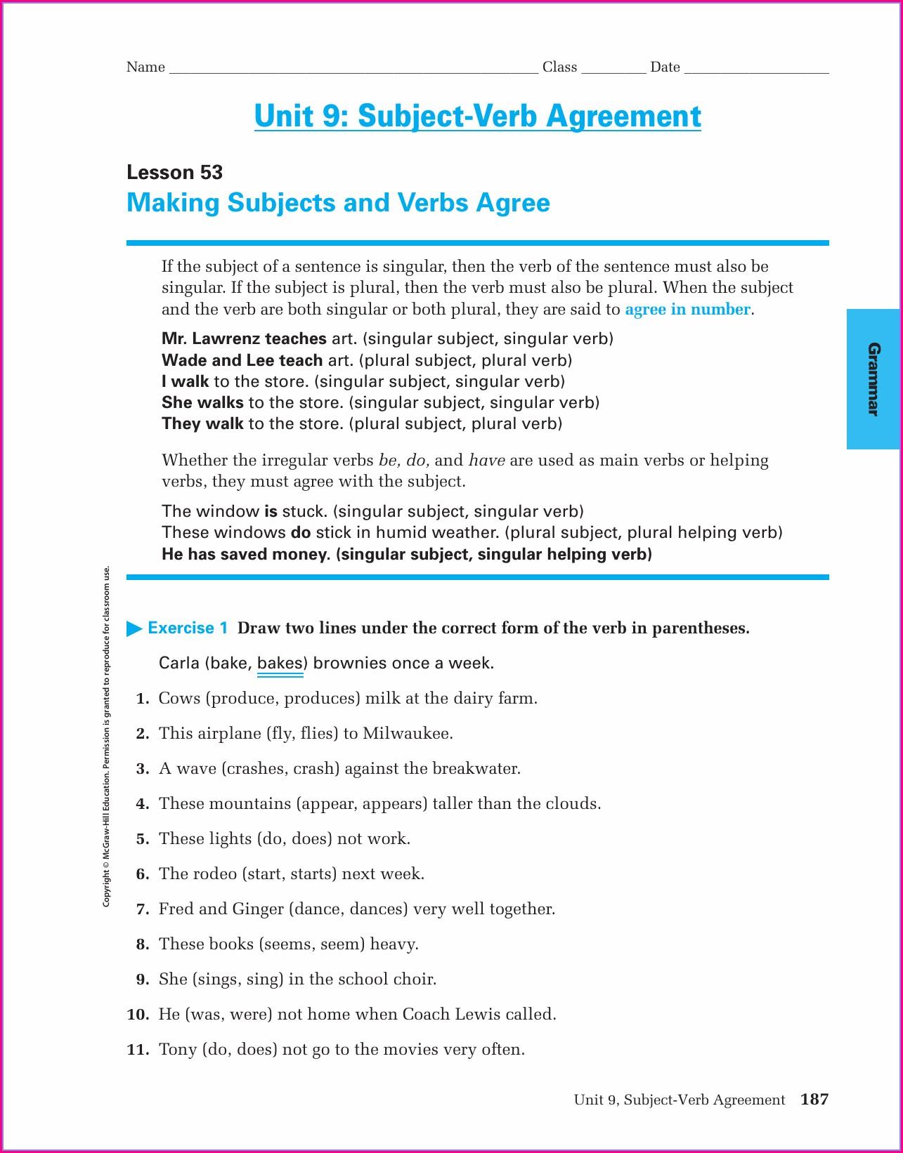 Subject Verb Agreement Worksheets Upper Intermediate