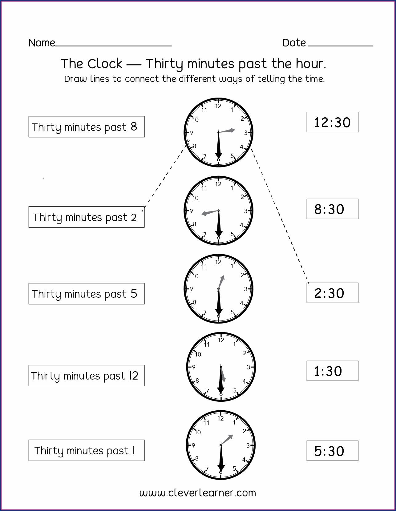 Half Past Telling Time Worksheets Grade 1 Worksheet