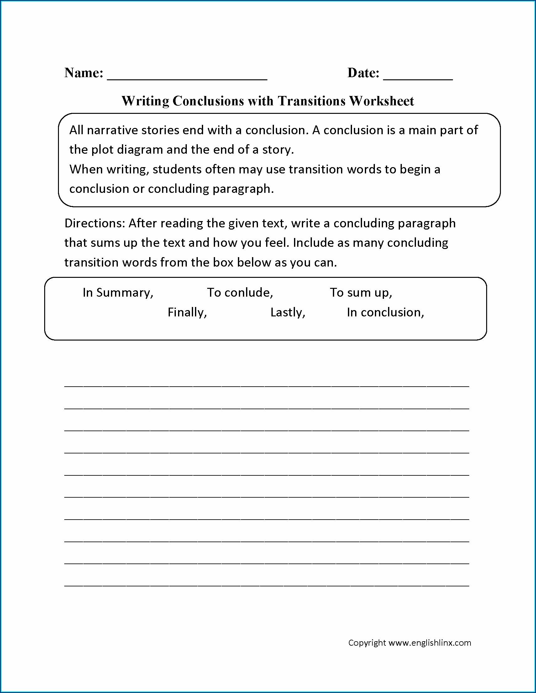 4th Grade Transition Words Worksheet Uncategorized
