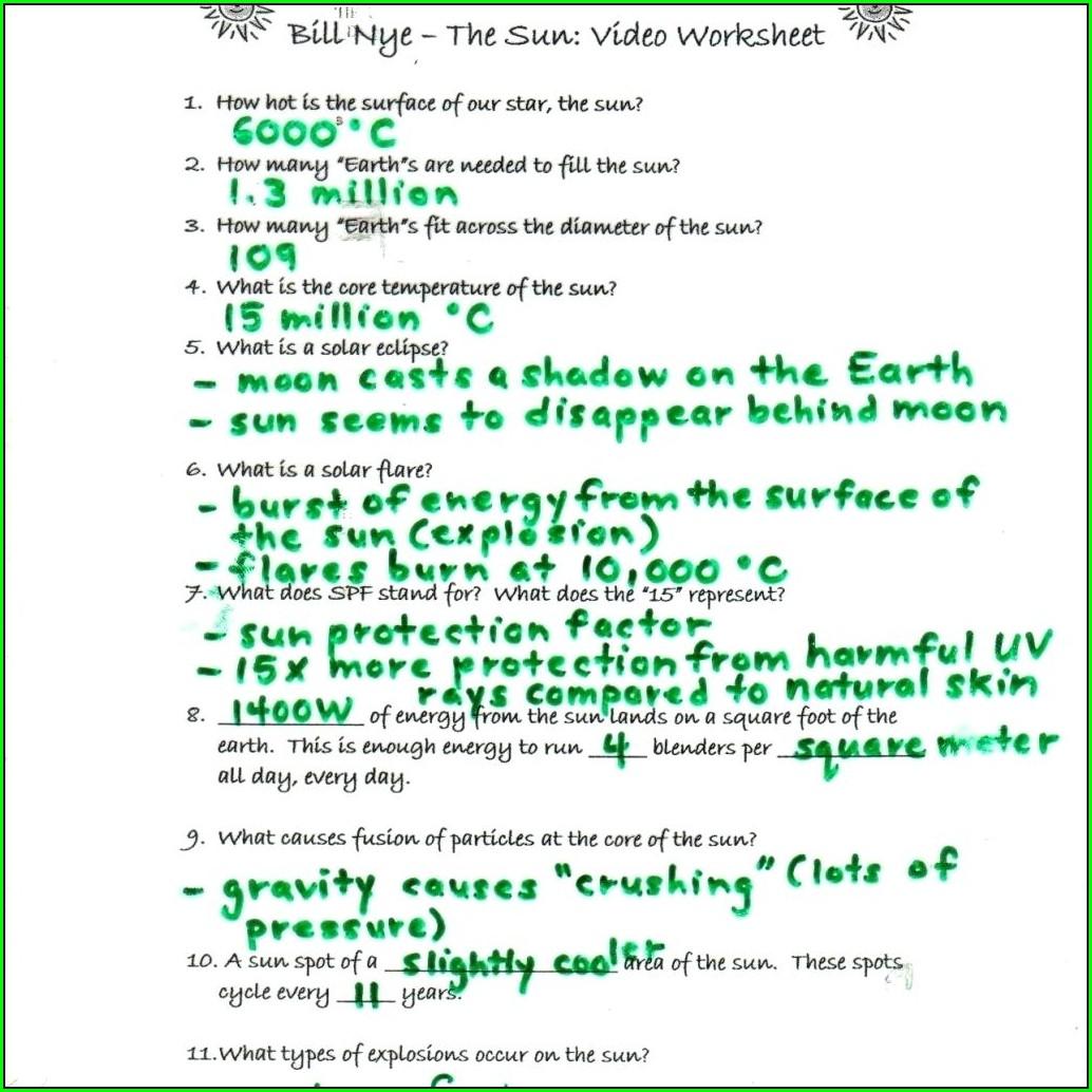 Water Cycle Bill Nye Video Worksheet Answers Worksheet