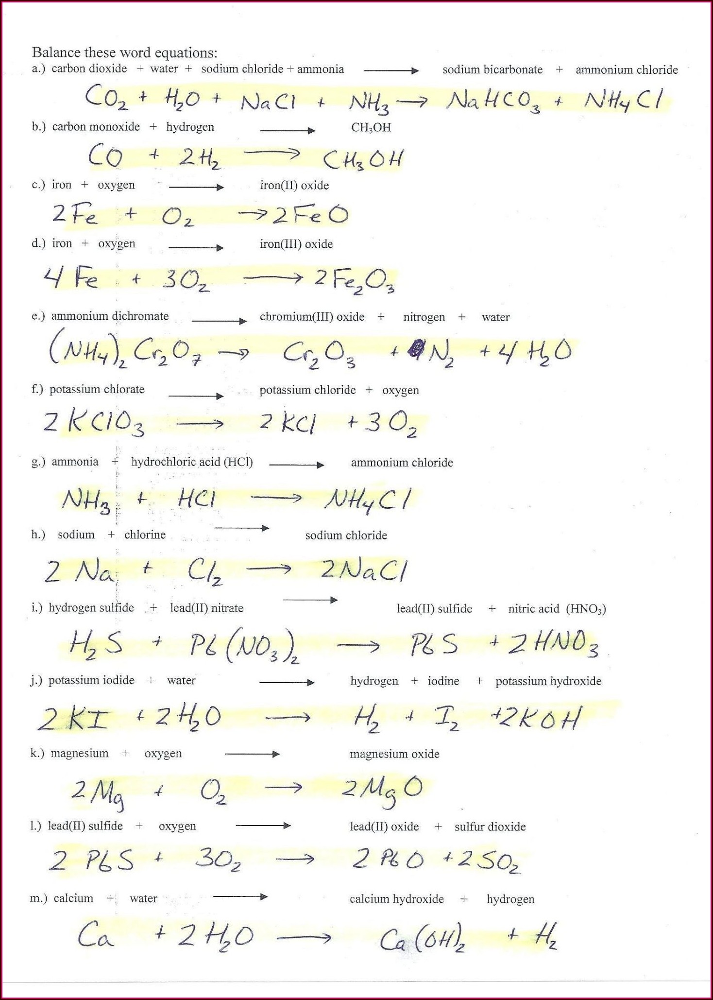 Word Equations Worksheet Physical Science If Worksheet