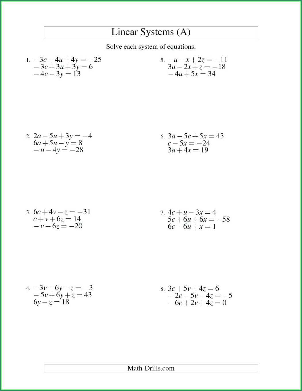 Systems Of Equations Word Problems Three Variables