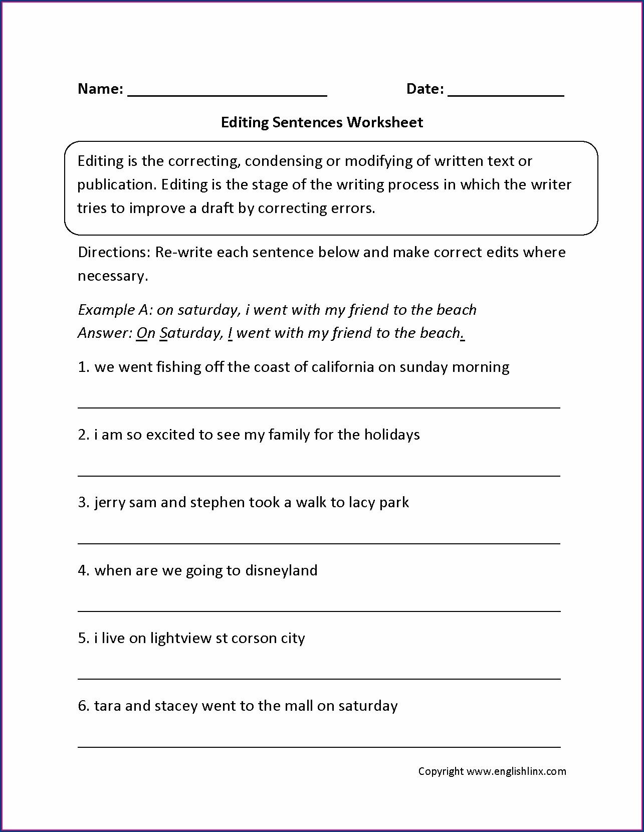 Peer Editing Writing Worksheets Worksheet Resume Examples