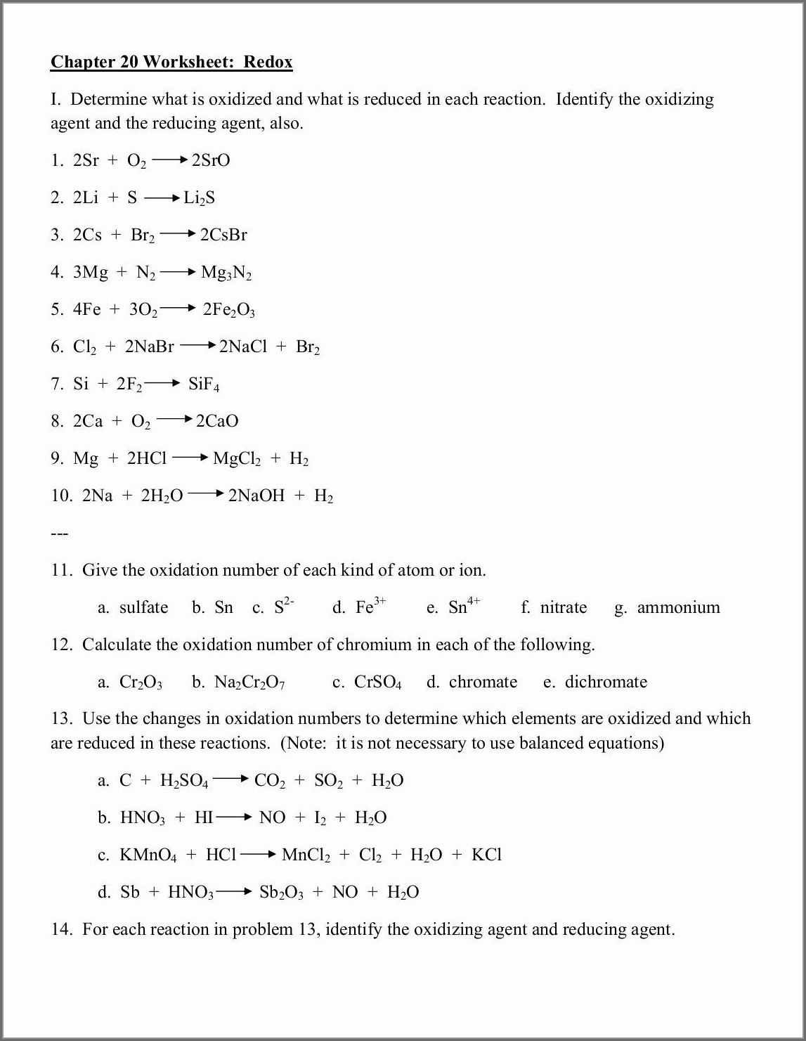 Assigning Oxidation Numbers Worksheet Answer Key Worksheet