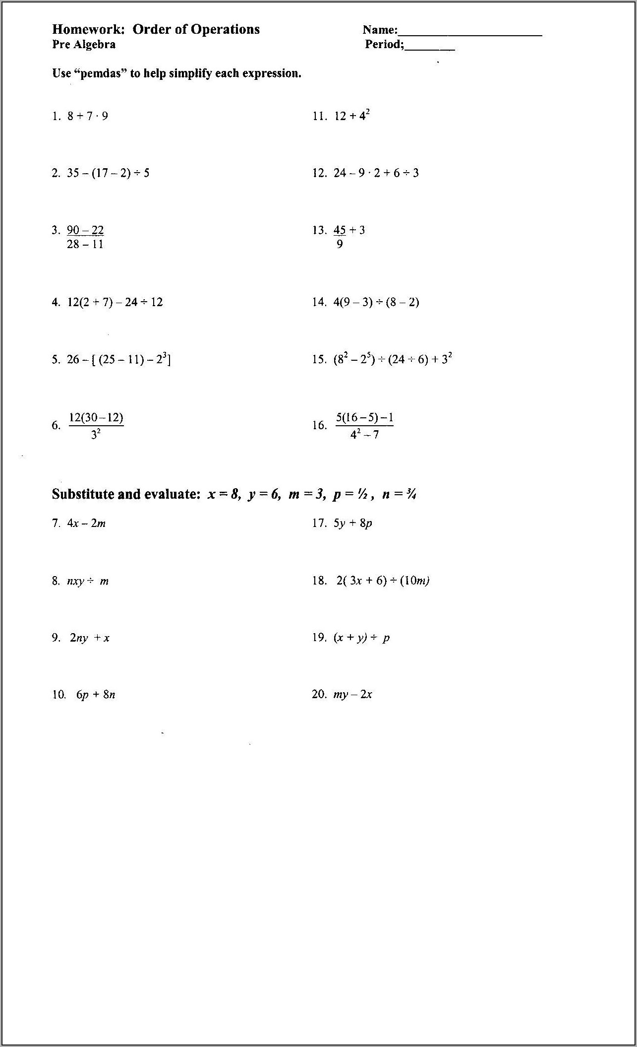 hight resolution of Algebraic Expressions Worksheets Grade 11   Printable Worksheets and  Activities for Teachers