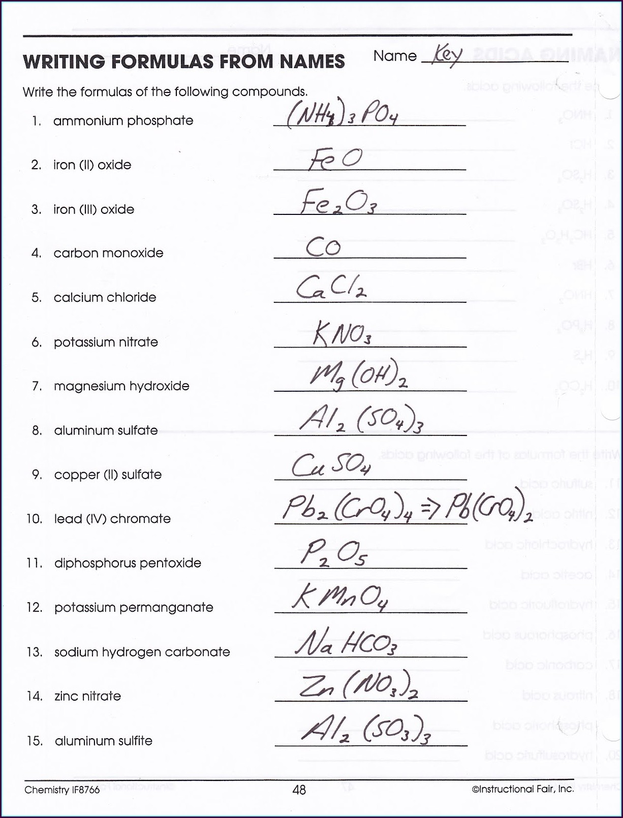 Writing Chemical Formulas Worksheet With Answers Worksheet