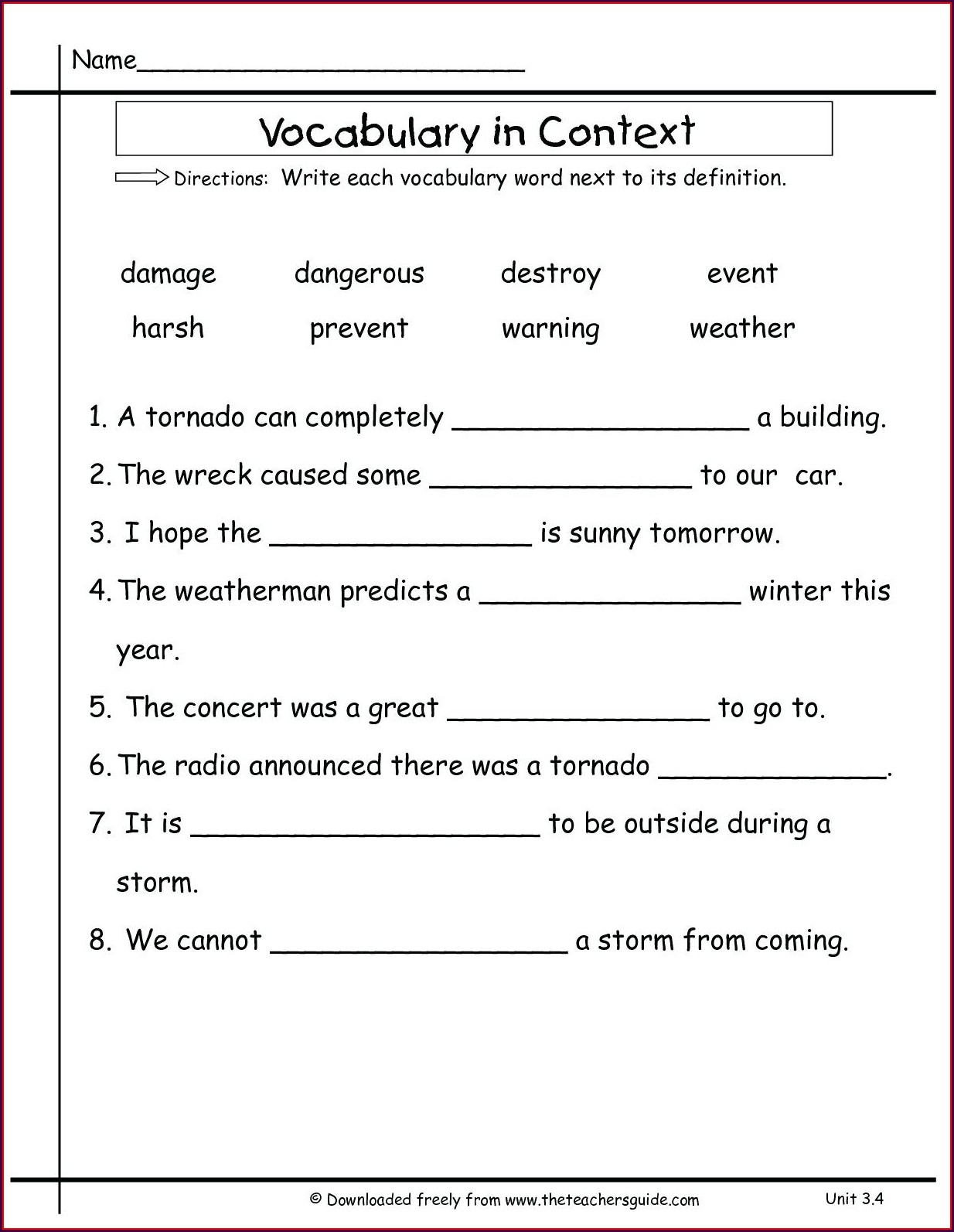 First Grade Vocabulary Worksheets Free Worksheet Resume