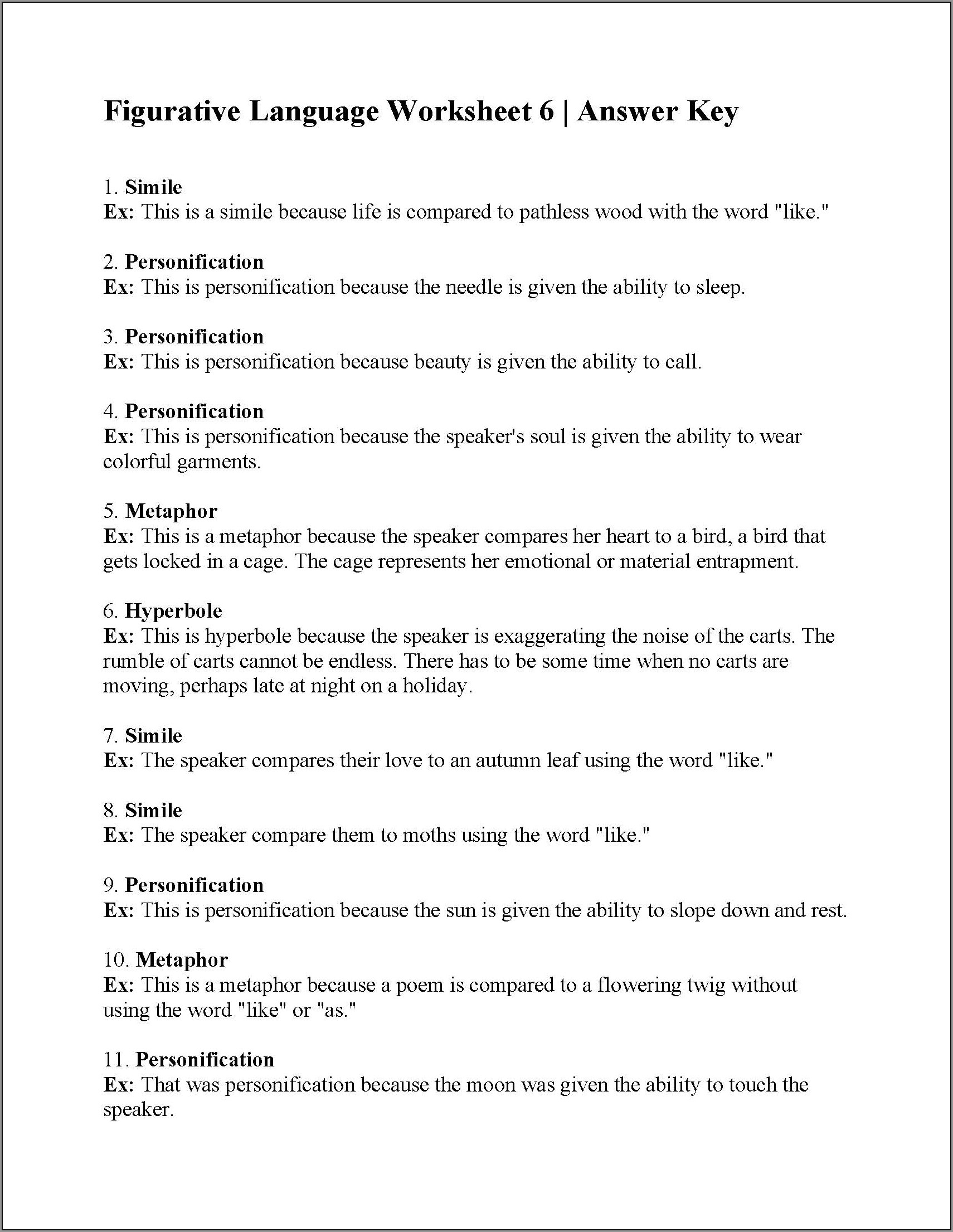 3rd Grade Figurative Language Worksheets Worksheet