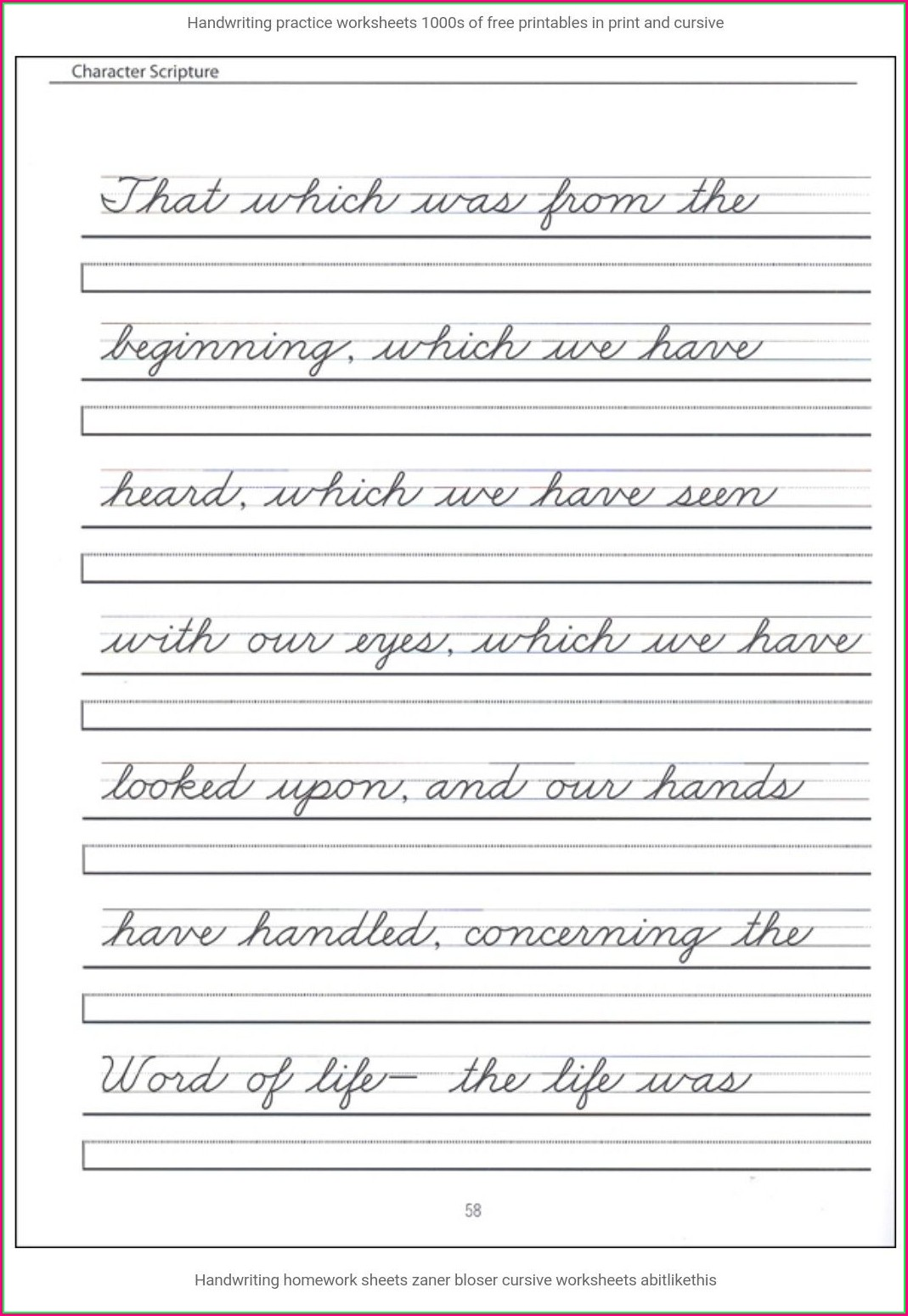 6th Grade Cursive Writing Sentences Worksheets