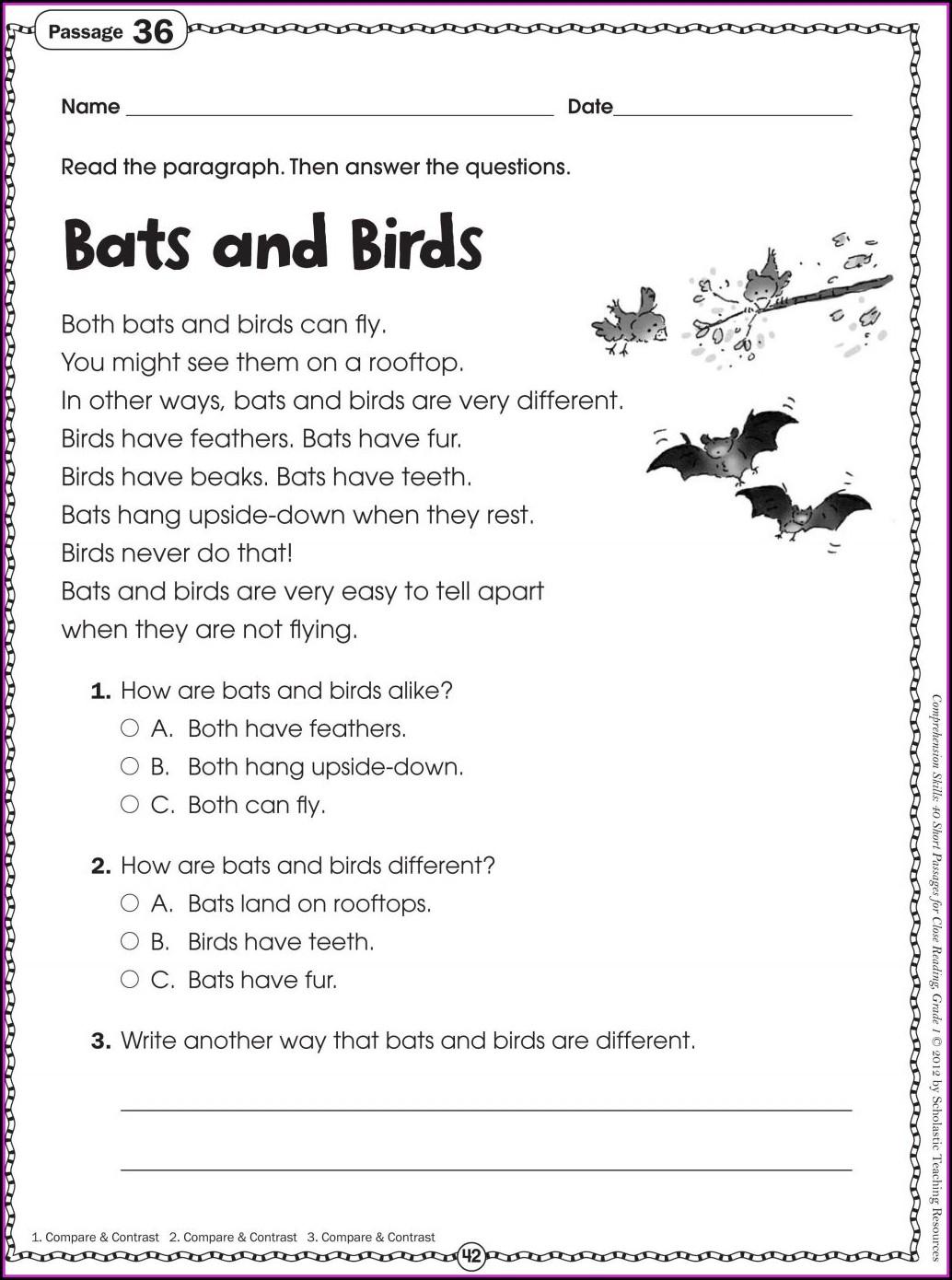 Free Printable Grade 5 English Comprehension Worksheets