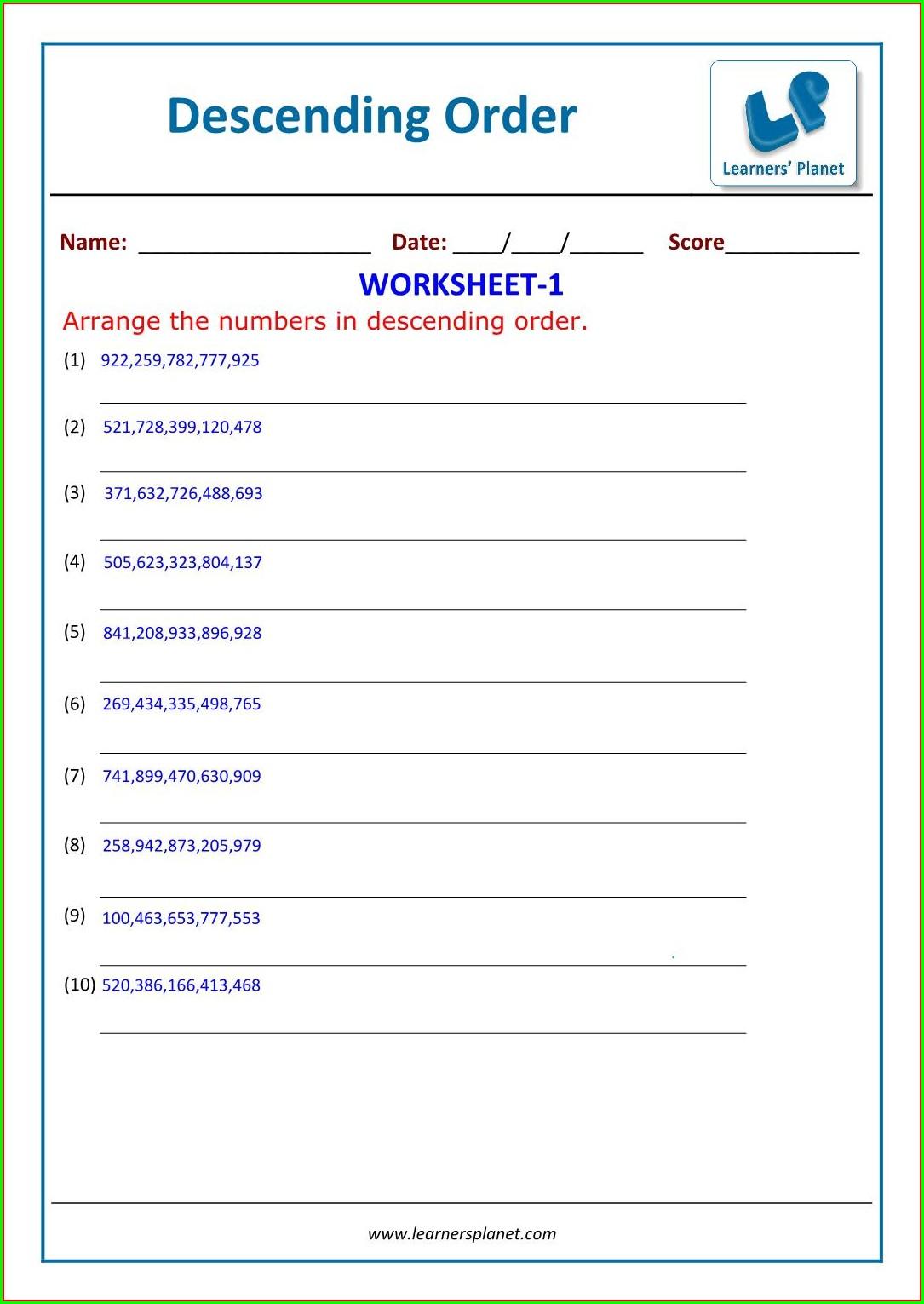 Math Worksheet Arranging Numbers Worksheet Resume Examples