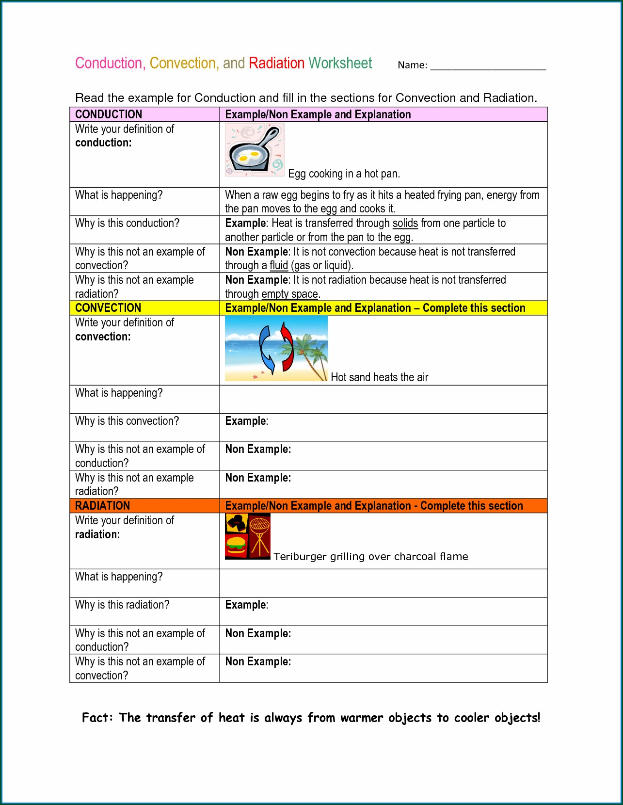 Physical Science Specific Heat Worksheet Answer Key