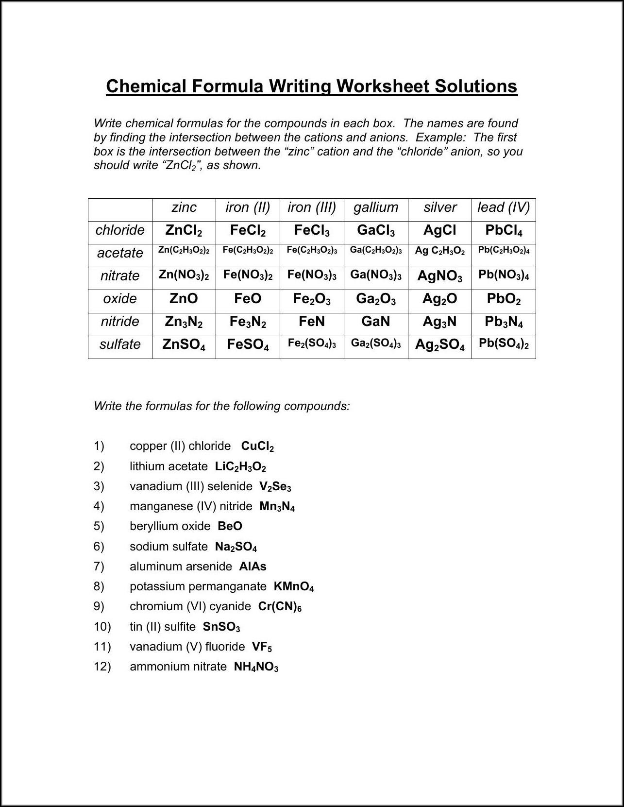 Writing Ionic Formulas Worksheet Answer Key Worksheet