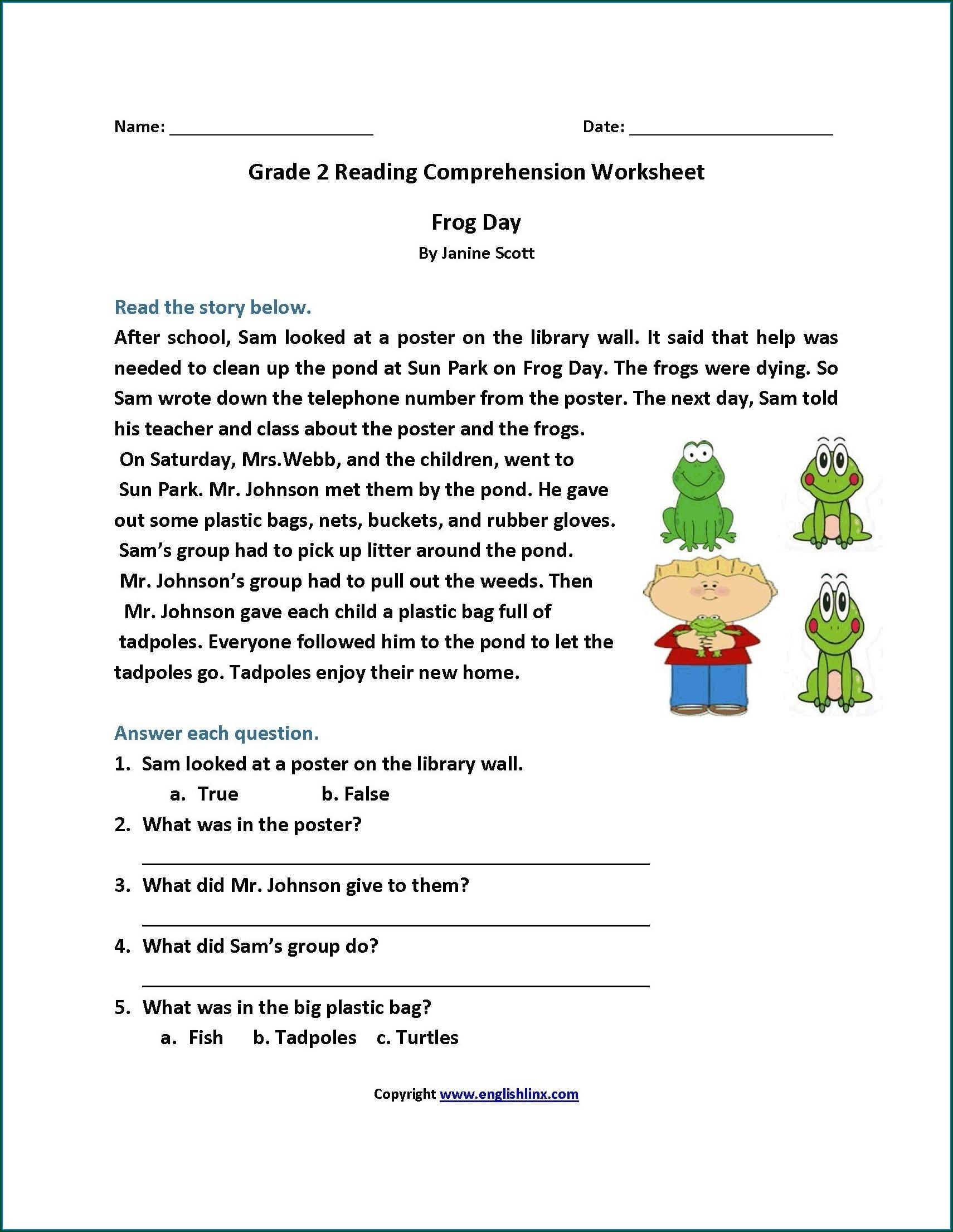 Printable Reading Comprehension Worksheets For Grade 2