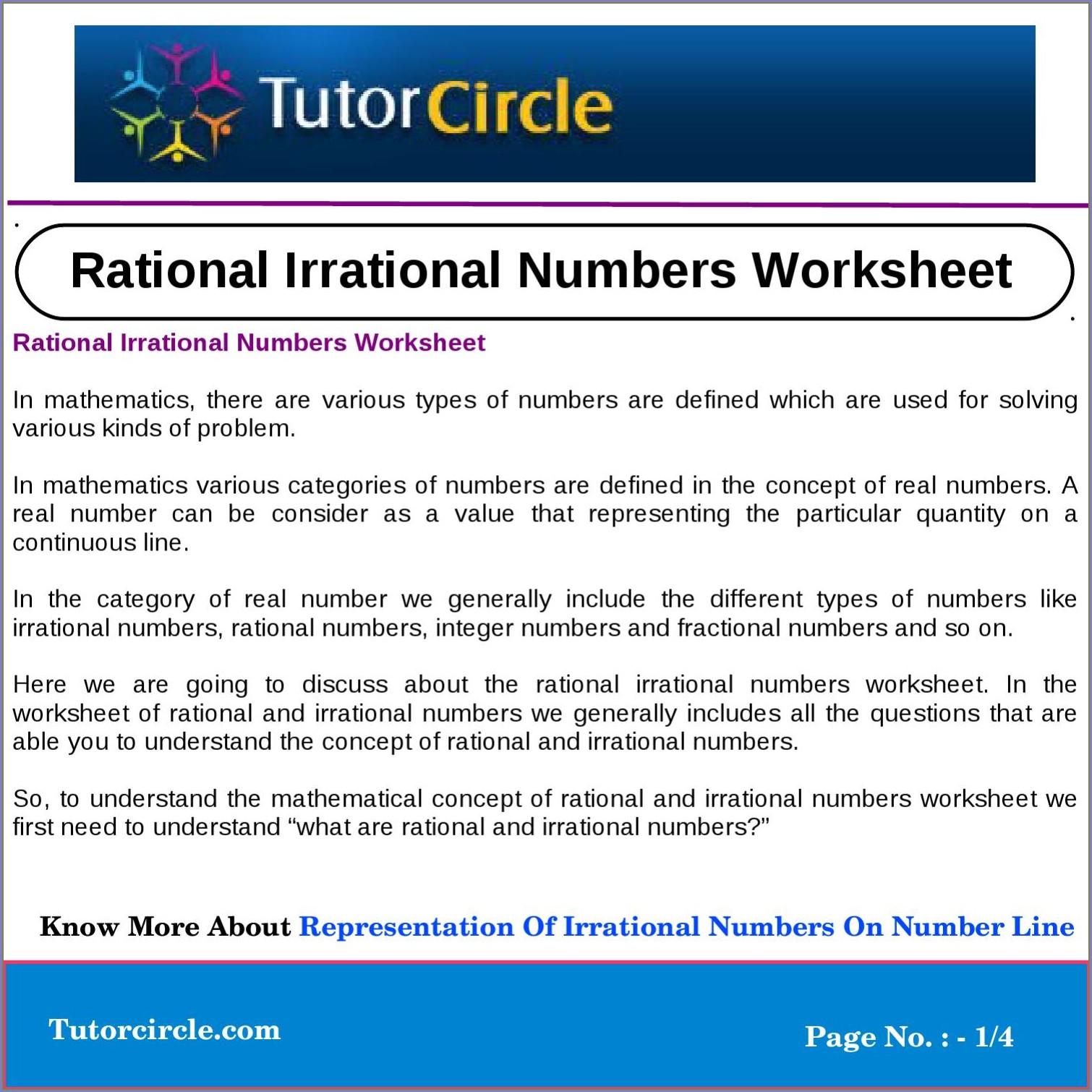 Plotting Rational Numbers On A Number Line Worksheet