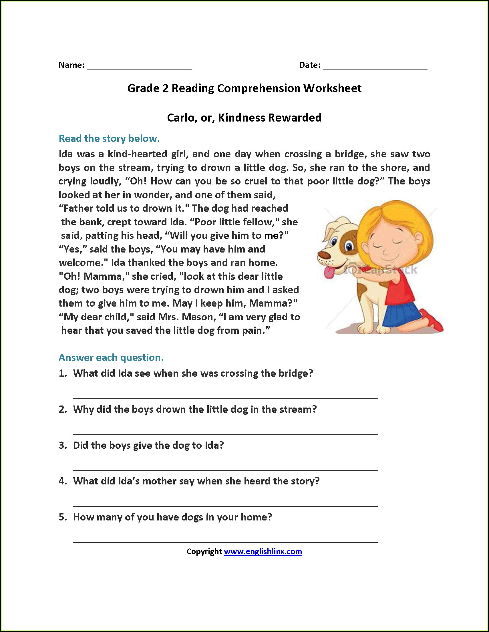 Comprehension Worksheets With Answers For Grade 5