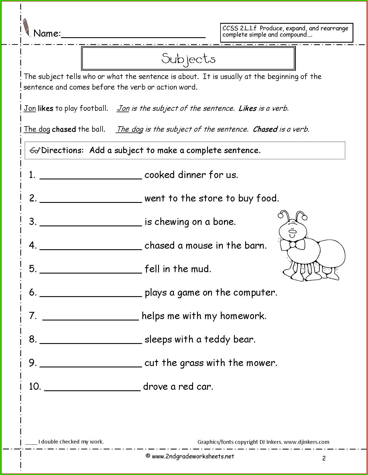 Second Grade Topic Sentence Worksheet 2nd Grade Worksheet