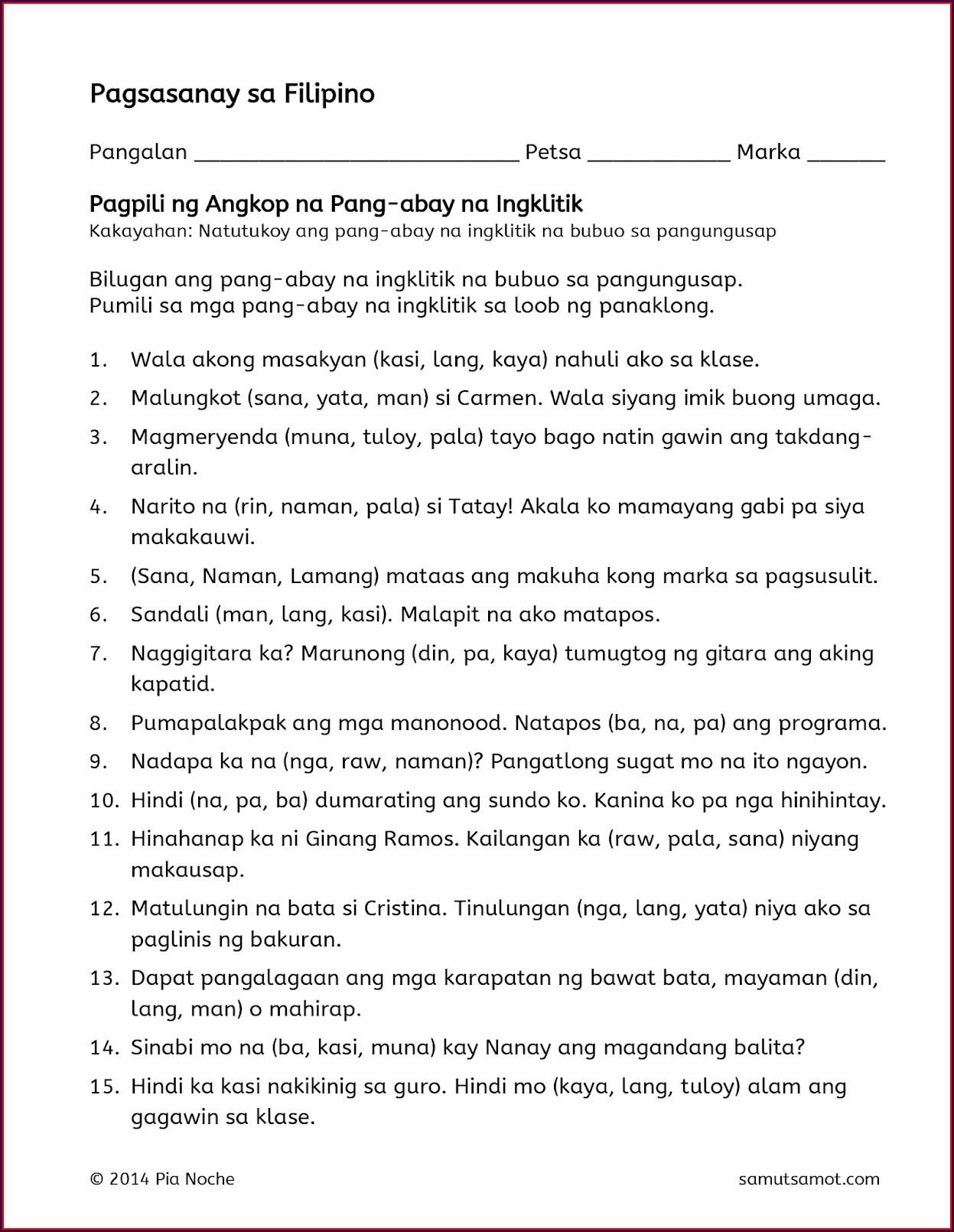 Worksheet For Grade 2 Filipino Pang Ukol Worksheet